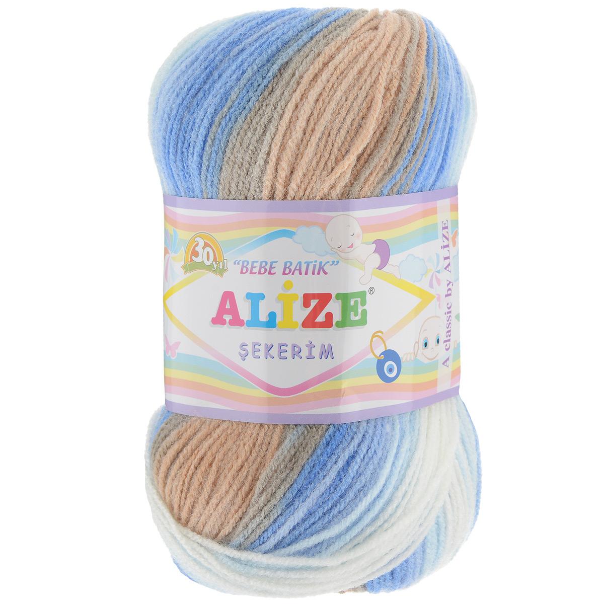Пряжа для вязания Alize Sekerim Bebe Batik, цвет: бежевый, белый, голубой (3921), 320 м, 100 г, 5 шт364106_3921Пряжа для вязания Alize Sekerim Bebe Batik изготовлена из акрила. Фантазийная пряжа для ручного вязания отлично подойдет для детских вещей. Ниточка мягкая и приятная на ощупь. Подходит для вязания спицами и крючком. Рекомендованные спицы 3-4 мм и крючок для вязания 2-4 мм. Состав: 100% акрил.