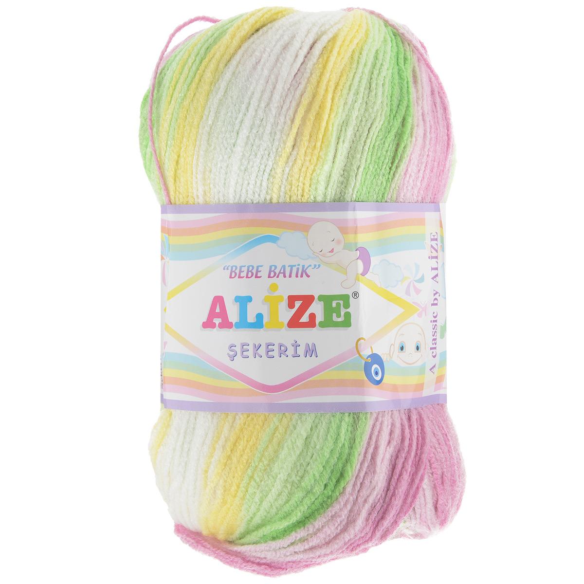 Пряжа для вязания Alize Sekerim Bebe Batik, цвет: белый, зеленый, розовый (3067), 320 м, 100 г, 5 шт364106_3067Пряжа для вязания Alize Sekerim Bebe Batik изготовлена из акрила. Фантазийная пряжа для ручного вязания отлично подойдет для детских вещей. Ниточка мягкая и приятная на ощупь. Подходит для вязания спицами и крючком. Рекомендованные спицы 3-4 мм и крючок для вязания 2-4 мм. Состав: 100% акрил.