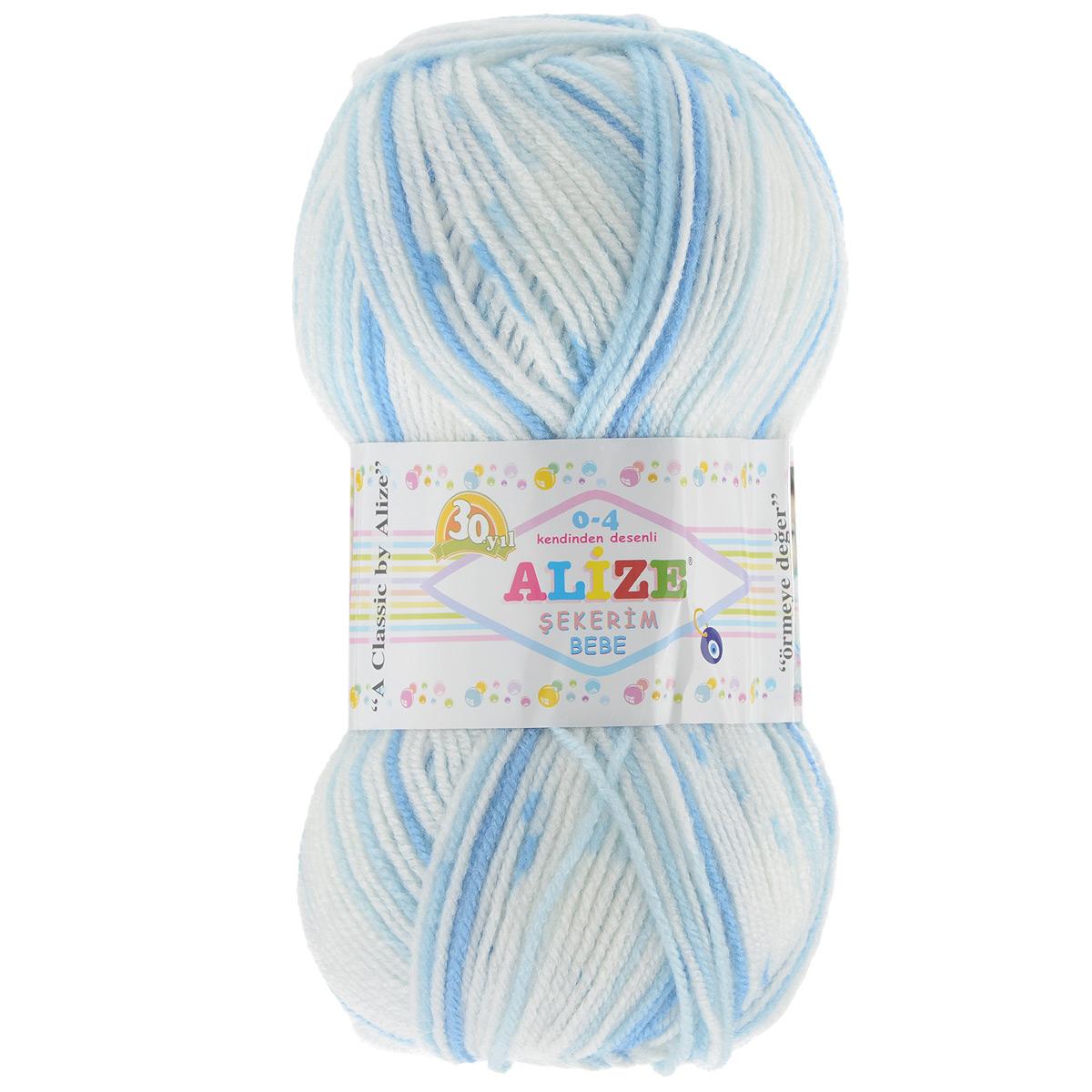 Пряжа для вязания Alize Sekerim Bebe, цвет: синий, голубой, белый (508), 350 м, 100 г, 5 шт364082_508Пряжа для вязания Alize Sekerim Bebe изготовлена из акрила. Фантазийная пряжа для ручного вязания отлично подойдет для детских вещей. Ниточка мягкая и приятная на ощупь. Подходит для вязания спицами и крючком. Рекомендованные спицы 3-4 мм и крючок для вязания 2-4 мм. Состав: 100% акрил.