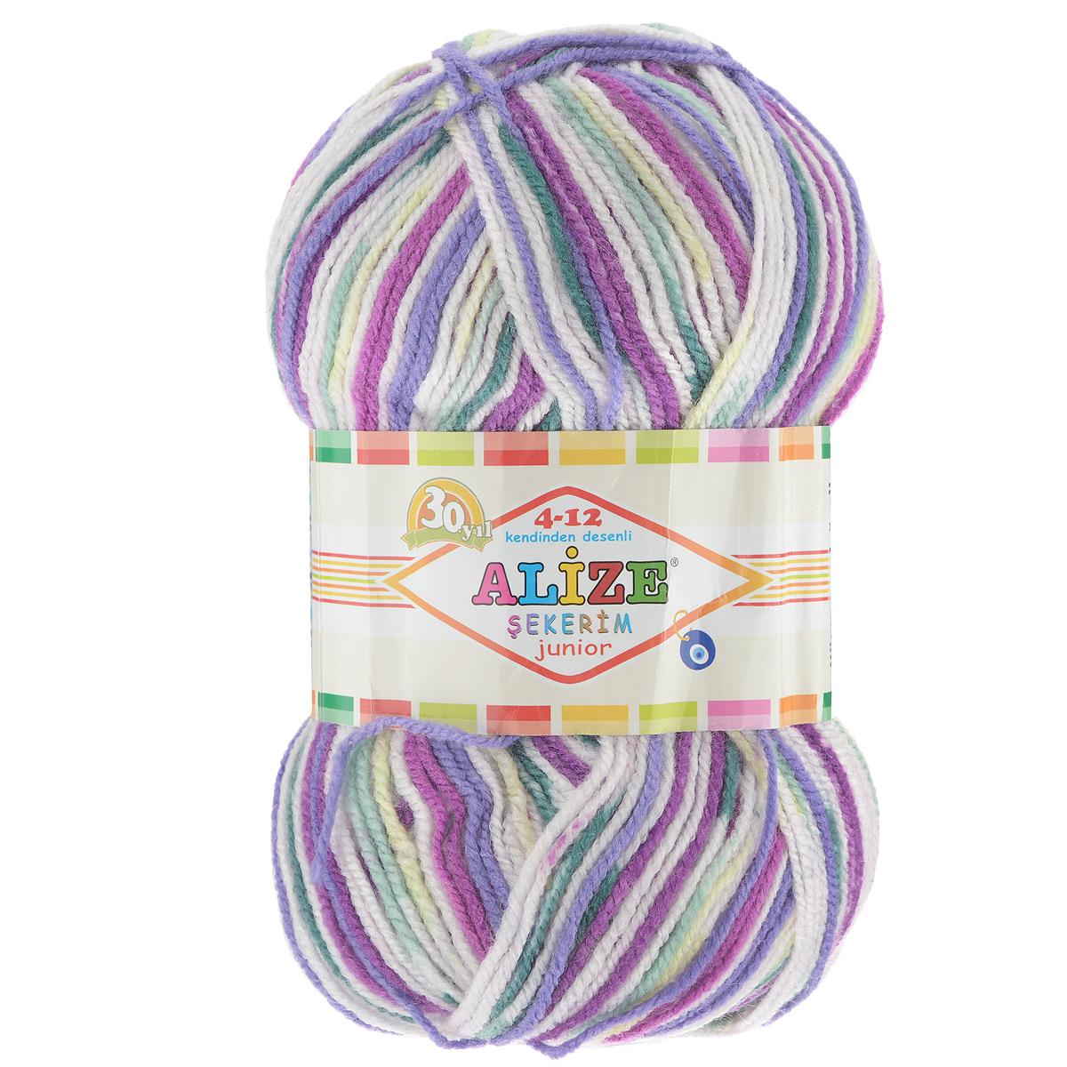 Пряжа для вязания Alize Sekerim Junior, цвет: белый, фиолетовый, желтый (809), 320 м, 100 г, 5 шт364082_809Пряжа Alize Sekerim Junior создана для вязания детских вещей. Мягкая и красивая нить в процессе вязания превращается в оригинальный узор в стиле жаккард. Рекомендованные спицы 3-4 мм и крючок для вязания 2-4 мм. Комплектация: 5 мотков. Состав: 90% акрил, 10% полиамид.