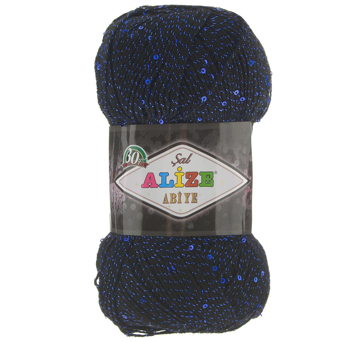 Пряжа для вязания Alize Sal Abiye, цвет: черный, синий (60-14), 410 м, 100 г, 5 шт372113_60-14Пряжа Alize Sal Abiye - это фантазийная акриловая пряжа с добавлением в тон нити пайеток и металлика. Такая нарядная пряжа подходит для вязания элегантных вечерних нарядов, сумочек, кошельков, украшений и пр. Рекомендованные спицы 2-4 мм и крючок для вязания 1-4 мм. Комплектация: 5 мотков. Состав: 80% акрил, 10% полиэстер, 5% пайетки, 5% металлизированная нить.