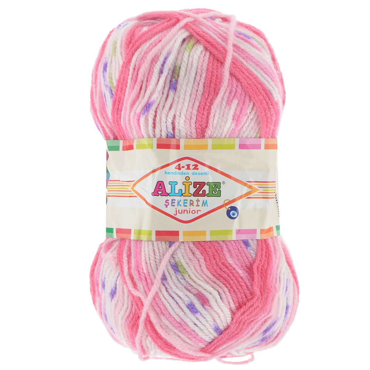 Пряжа для вязания Alize Sekerim Junior, цвет: белый, розовый, фиолетовый (707), 320 м, 100 г, 5 шт364082_707Пряжа Alize Sekerim Junior создана для вязания детских вещей. Мягкая и красивая нить в процессе вязания превращается в оригинальный узор в стиле жаккард. Рекомендованные спицы 3-4 мм и крючок для вязания 2-4 мм. Комплектация: 5 мотков. Состав: 90% акрил, 10% полиамид.