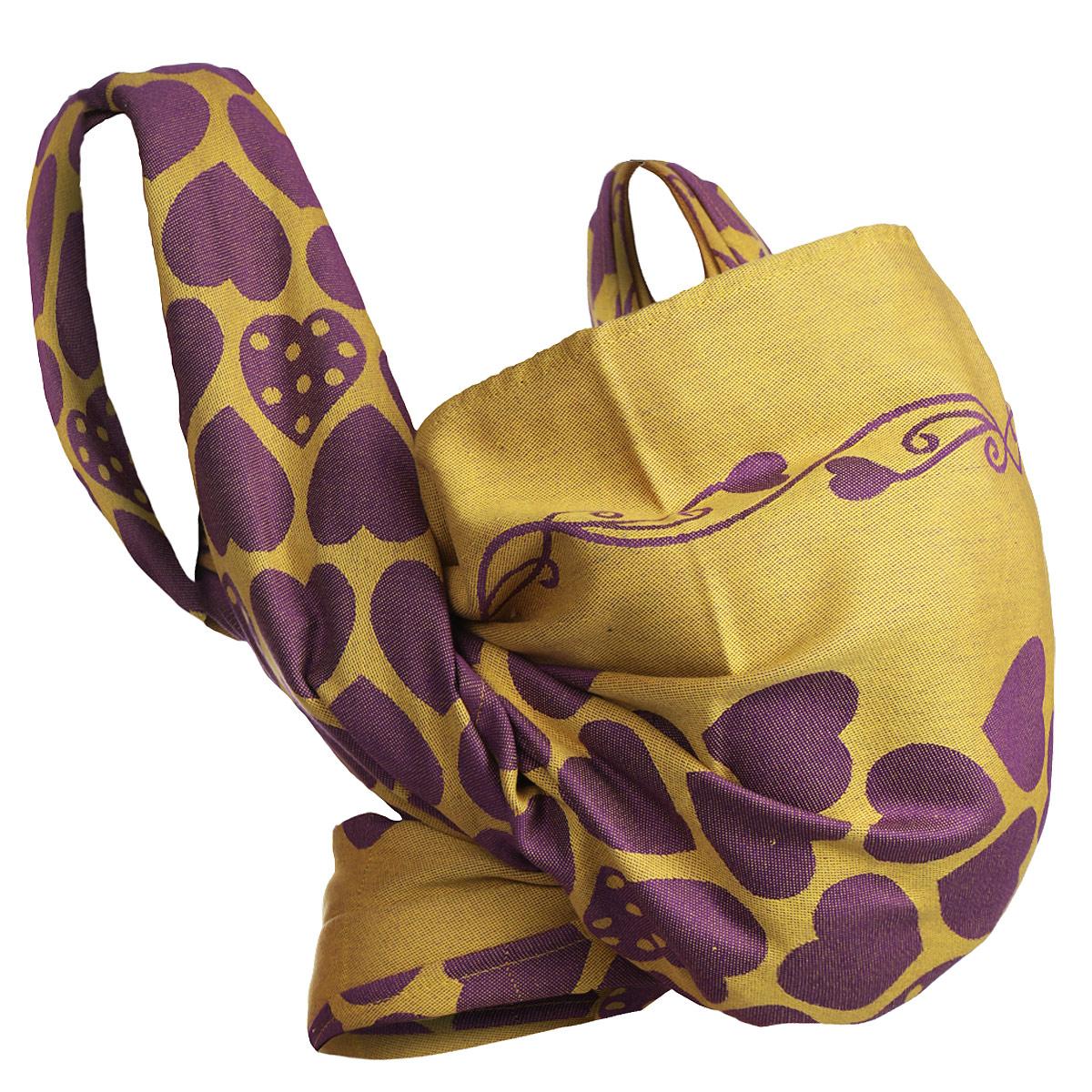 """Слинг-шарф Mum's Era """"Loving Hearts Grape"""", цвет: желтый, фиолетовый. Размер М"""