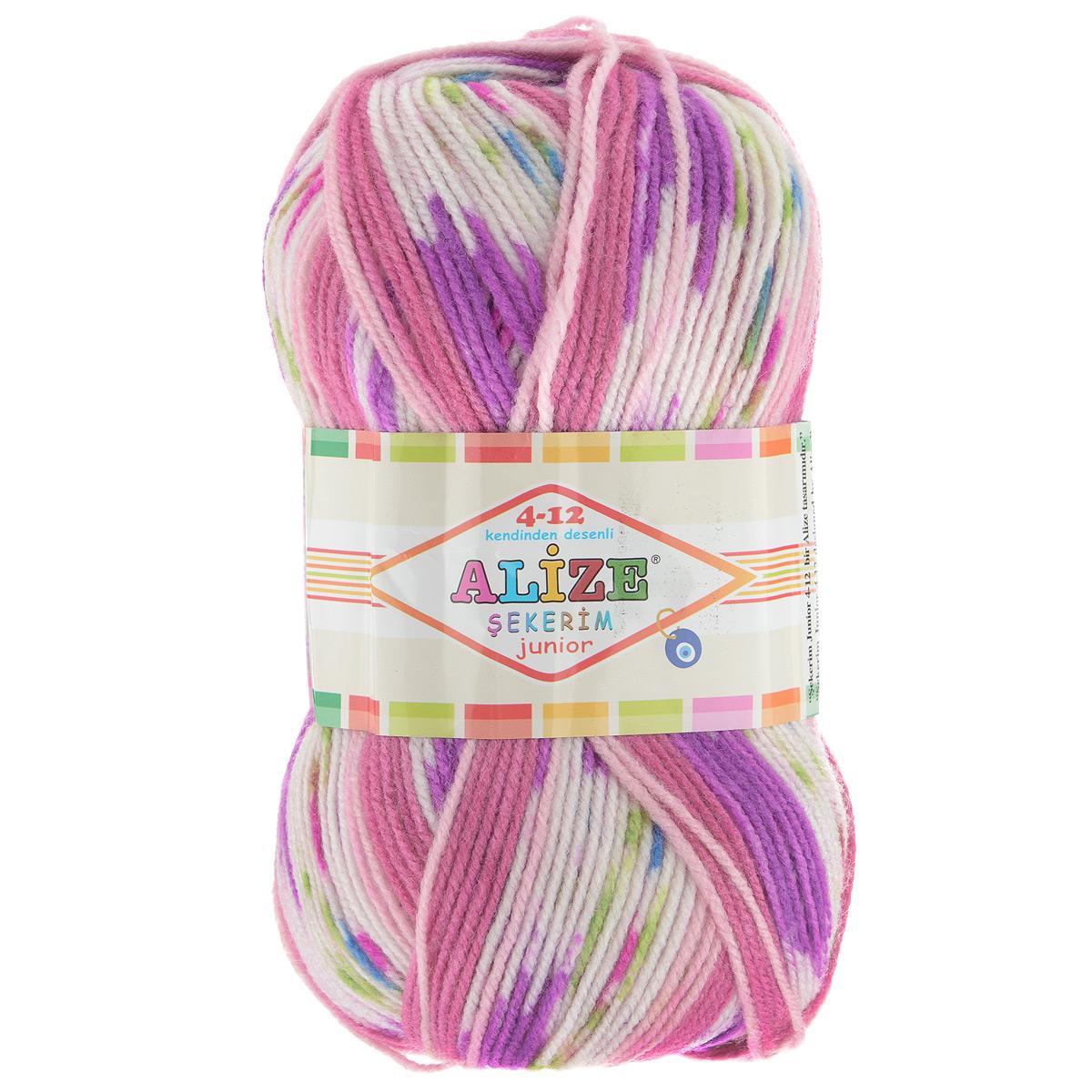Пряжа для вязания Alize Sekerim Junior, цвет: белый, розовый, сиреневый (706), 320 м,100 г, 5 шт364082_706Пряжа Alize Sekerim Junior создана для вязания детских вещей. Мягкая и красивая нить в процессе вязания превращается в оригинальный узор в стиле жаккард. Рекомендованные спицы 3-4 мм и крючок для вязания 2-4 мм. Комплектация: 5 мотков. Состав: 90% акрил, 10% полиамид.