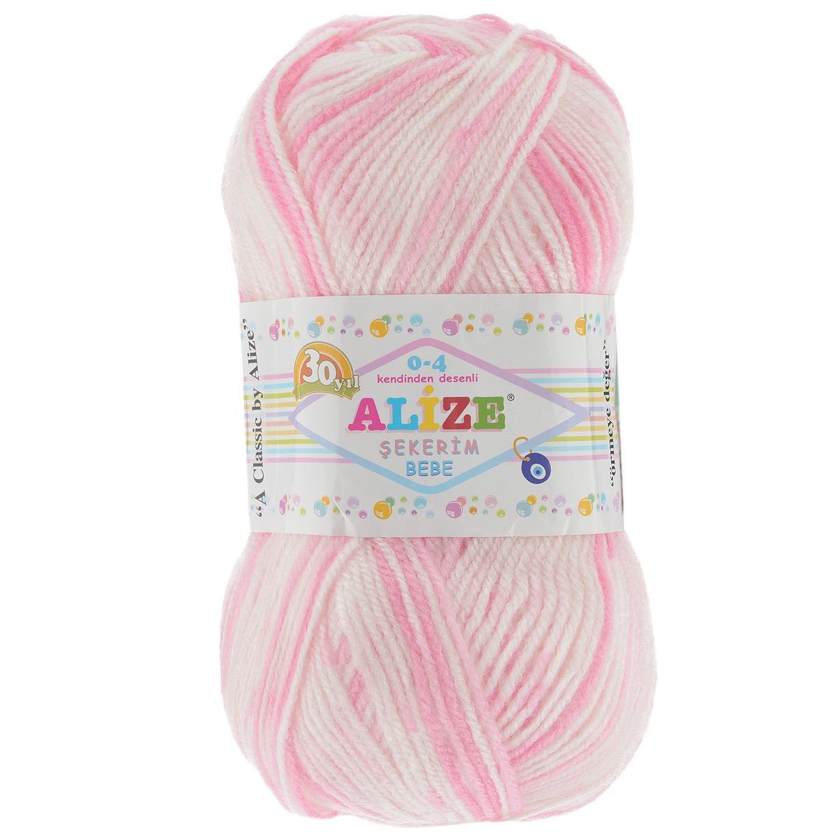 Пряжа для вязания Alize Sekerim Bebe, цвет: белый, нежно-розовый (507), 350 м, 100 г, 5 шт364082_507Пряжа для вязания Alize Sekerim Bebe изготовлена из акрила. Фантазийная пряжа для ручного вязания отлично подойдет для детских вещей. Ниточка мягкая и приятная на ощупь. Подходит для вязания спицами и крючком. Рекомендованные спицы 3-4 мм и крючок для вязания 2-4 мм. Состав: 100% акрил.