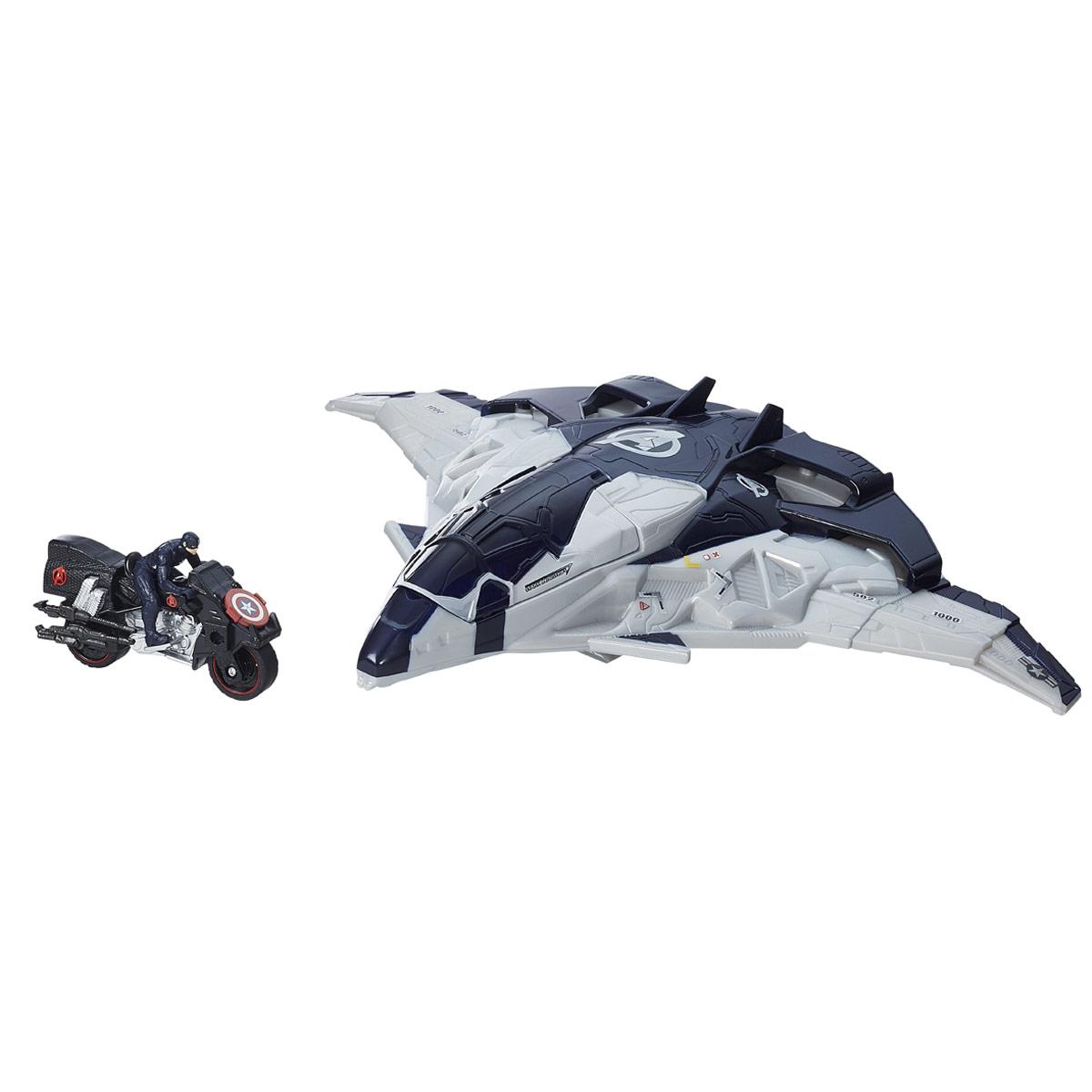 Игровой набор Avengers Самолет МстителяB5777EU4Игровой набор Avengers Самолет Мстителя непременно привлечет внимание вашего ребенка и не позволит ему скучать. Набор включает в себя элементы для сборки самолета Мстителей и мотоцикл Перового Мстителя с фигуркой. Элементы набора выполнены из прочного безопасного пластика. В кабину самолета помещаются 3 мини-фигурки Мстителей или фигурка Халка. Мотоцикл запускается прямо с самолета при нажатии поочередно кнопок в верхней его части. Элементы набора отличаются высоким качеством исполнения и детализации. Такой набор обязательно понравится вашему малышу, и он проведет множество счастливых мгновений, играя с ним и придумывая различные истории.