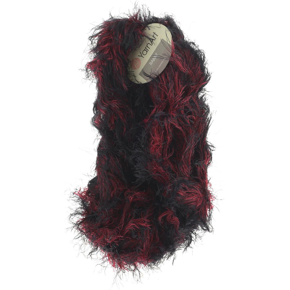 Пряжа для вязания YarnArt Rabbit, цвет: черный, красный (557), 90 м, 100 г, 4 шт693354_557Пряжа Rabbit - новинка, имитирующая мех кролика фантазийной окраски. Нить тонкая с длинным ворсом. Подходит в качестве отделки одежды, а также в качестве основной пряжи. Вязать лучше всего лицевой гладью, тогда изделие получится мягким и пушистым, как настоящий мех. Состав: 100% полиамид. Рекомендованные спицы и крючок № 6-6,5.