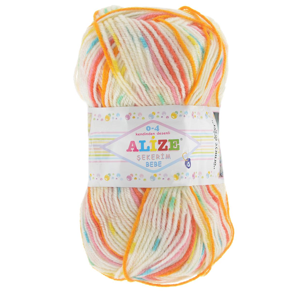 Пряжа для вязания Alize Sekerim Bebe, цвет: белый, оранжевый, красный (513), 320 м, 100 г, 5 шт364082_513Пряжа для вязания Alize Sekerim Bebe изготовлена из акрила. Фантазийная пряжа для ручного вязания отлично подойдет для детских вещей. Ниточка мягкая и приятная на ощупь. Подходит для вязания спицами и крючком. Рекомендованные спицы 3-4 мм и крючок для вязания 2-4 мм. Состав: 100% акрил.