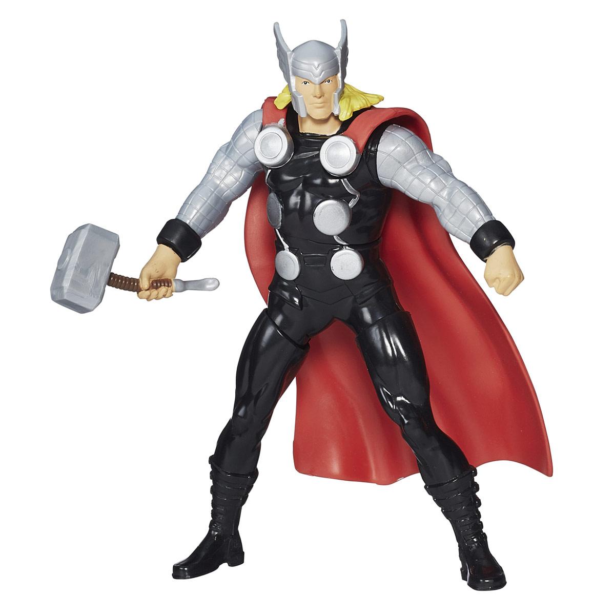 Боевая фигурка Avengers Thor, 16,5 смB1202_B1811Боевая фигурка Avengers Thor порадует любого маленького поклонника знаменитой серии Мстители (Avengers). Фигурка изготовлена из высококачественного прочного пластика и выполнена в виде супергероя Тора. Сведите ноги фигурки вместе, и Тор взмахнет рукой с молотом. Фигурка отличается высоким качеством исполнения и детализации. Тор - один из самых известных супергероев Вселенной Marvel, сын бога Одина. Он обладает сверхчеловеческой силой и выносливостью, а в бою полагается на свой верный молот - Мьельнир, который не может поднять никто, кроме него. Фигурка понравится как детям, так и взрослым коллекционерам, она станет отличным сувениром или займет достойное место в коллекции любого поклонника комиксов о непобедимых Мстителях.