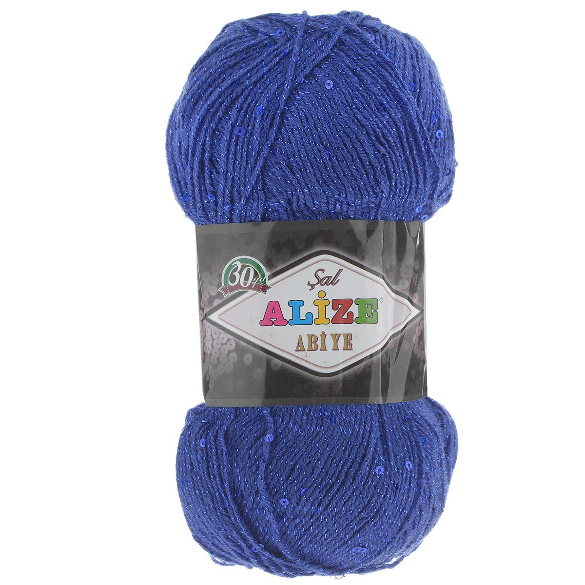 Пряжа для вязания Alize Sal Abiye, цвет: темно-синий (360), 410 м, 100 г, 5 шт372113_360Пряжа Alize Sal Abiye - это фантазийная акриловая пряжа с добавлением в тон нити пайеток и металлика. Такая нарядная пряжа подходит для вязания элегантных вечерних нарядов, сумочек, кошельков, украшений и пр. Рекомендованные спицы 2-4 мм и крючок для вязания 1-4 мм. Комплектация: 5 мотков. Состав: 80% акрил, 10% полиэстер, 5% пайетки, 5% металлизированная нить.