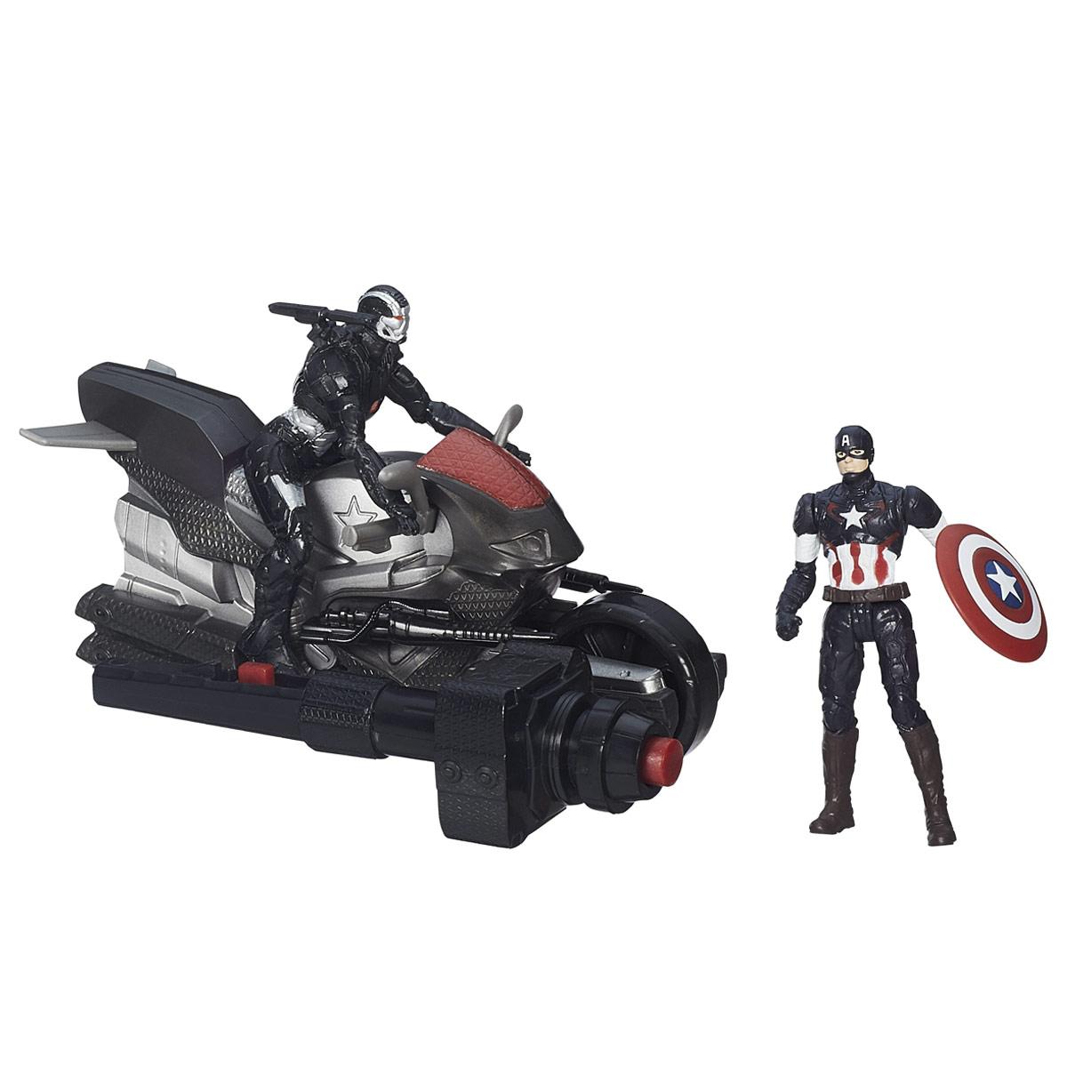 Игровой набор Avengers Captain America & Marvels War MachineB5769EU4_B1499Игровой набор Avengers Captain America & Marvels War Machine непременно привлечет внимание вашего ребенка и не позволит ему скучать. Набор включает в себя две фигурки супергероев - Капитана Америки и Воителя, а также мотоцикл для Воителя ключ зажигания. Фигурки выполнены из прочного безопасного пластика. Они в точности повторяют внешний вид героев фильма. Голова, руки и ноги фигурки Капитана Америки подвижны, что позволяет придавать ей различные позы и открывает малышу неограниченный простор для игр. При помощи оригинального пускового ключа, вы сможете запустить мотоцикл - вставьте его в специальное углубление, нажмите на кнопку, и мотоцикл быстро поедет вперед. Фигурки отличаются высоким качеством исполнения и детализации. Такой набор обязательно понравится вашему малышу, и он проведет множество счастливых мгновений, играя с ним и придумывая различные истории.
