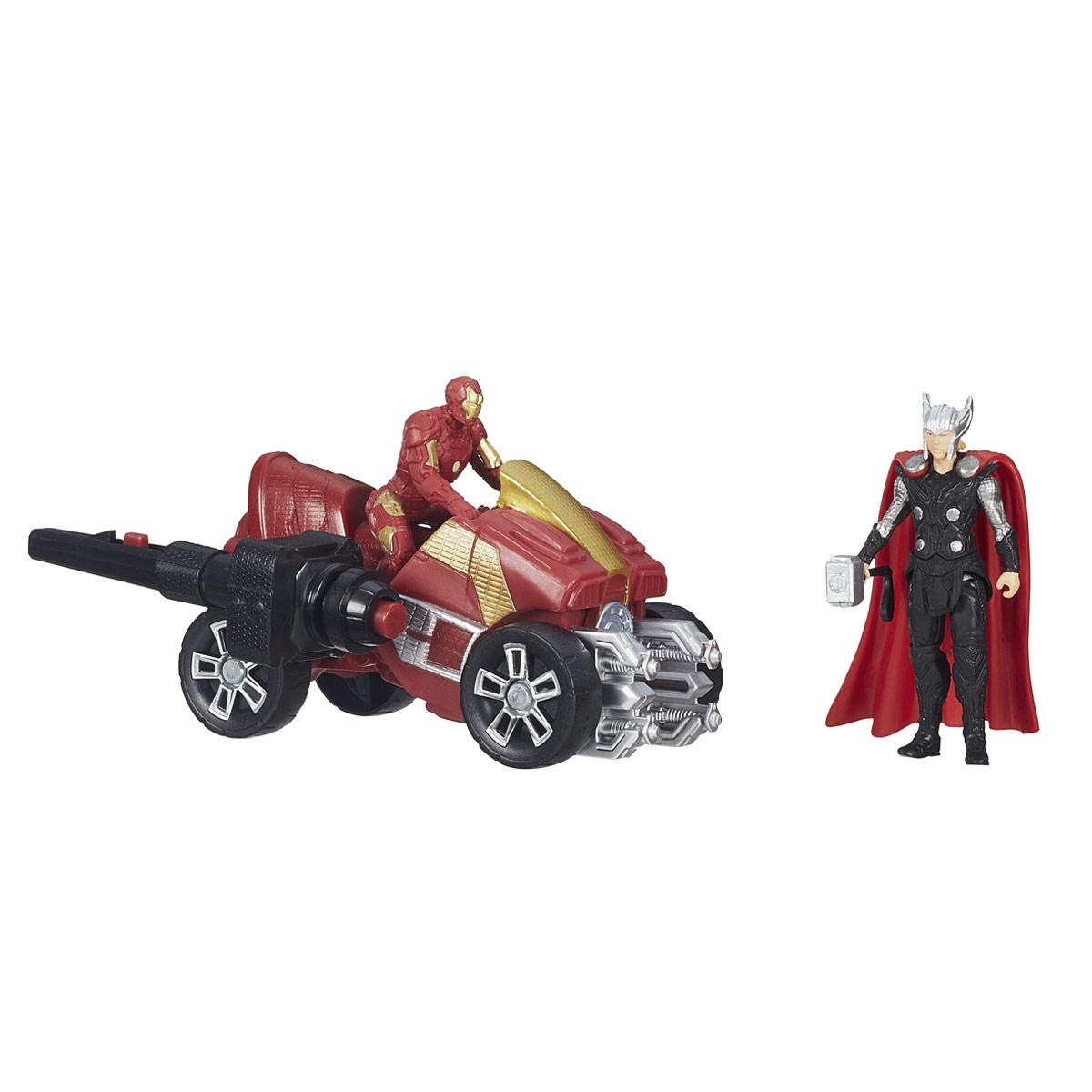 Игровой набор Avengers Thor & Iron ManB5769EU4_B1501Игровой набор Avengers Thor & Iron Man непременно привлечет внимание вашего ребенка и не позволит ему скучать. Набор включает в себя две фигурки супергероев - Тора и Железного Человека, а также квадроцикл для Железного Человека и ключ зажигания. Фигурки выполнены из прочного безопасного пластика. Они в точности повторяют внешний вид героев фильма. Голова, руки и ноги фигурки Тора подвижны, что позволяет придавать ей различные позы и открывает малышу неограниченный простор для игр. При помощи оригинального пускового ключа, вы сможете запустить квадроцикл - вставьте его в специальное углубление, нажмите на кнопку, и квадроцикл быстро поедет вперед. Фигурки отличаются высоким качеством исполнения и детализации. Такой набор обязательно понравится вашему малышу, и он проведет множество счастливых мгновений, играя с ним и придумывая различные истории.