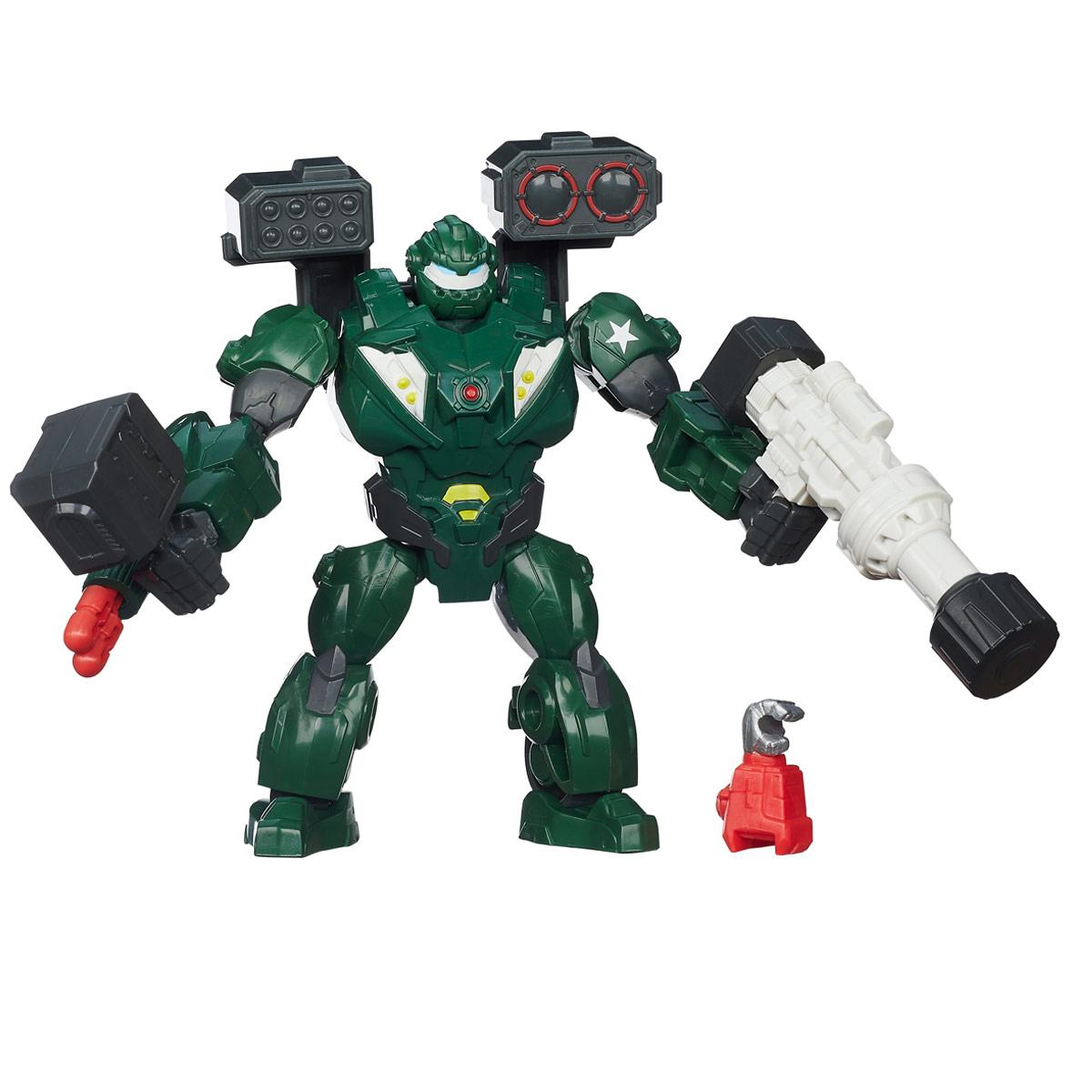 Разборная фигурка Hero Mashers Transformers: Bulkhead, с аксессуарамиA8336Разборная фигурка Hero Mashers Transformers: Bulkhead обязательно понравится любому маленькому поклоннику мультфильмов о роботах-трансформерах! Фигурка выполнена из прочного пластика в виде робота-автобота Балкхеда. Голова, руки и ноги фигурки подвижны, вращаются и сгибаются, а также отделяются от корпуса. На правой руке робота расположена пушка - поместите внутрь снаряд и нажмите на кнопку, и Балкхед выстрелит. В комплект также входит дополнительное оружие, которым ваш ребенок сможет усилить героя - молот, ракетная установка, которая надевается на спину робота, как ранец, большая ракетница и дополнительная рука робота Клиффджампера. Фигурка совместима с другими фигурками из серии Hero Mashers. Собрав коллекцию фигурок от Hasbro, вы сможете создать своего героя, объединяя способности разных героев вселенной Transformers. Все элементы обладают единым способом крепления, что позволяет создавать различные комбинации. Ребенок с удовольствием будет играть с фигуркой,...