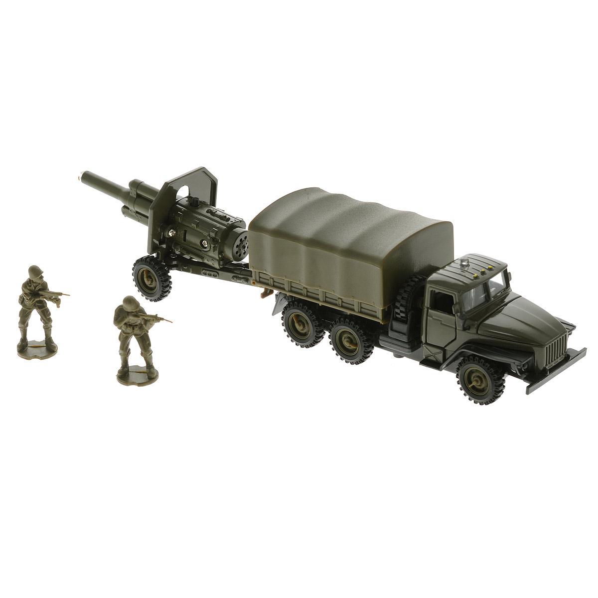 ТехноПарк Машинка инерционная УралCT-1054/CT1112Игровой набор Технопарк Урал непременно понравится вашему ребенку. Набор включает в себя грузовик, прицеп с пулеметом и две фигурки военных. Игрушки выполнены из пластика и металла. Двери и капот грузовика открываются, кузов поднимается. При нажатии кнопки на крыше грузовика в кабине начинают светиться огоньки, при этом слышны звуки боя и приказы командира. При нажатии кнопки на пулемете звучат реалистичные звуки выстрелов. Прицеп и грузовик имеют прорезиненные колесики. Грузовик оснащен инерционным механизмом: стоит откатить игрушку назад, затем отпустить - и он молниеносно поедет вперед. Ваш ребенок будет часами играть с набором, придумывая различные истории. Порадуйте его таким замечательным подарком! Игрушка работает от батареек (товар комплектуется демонстрационными).