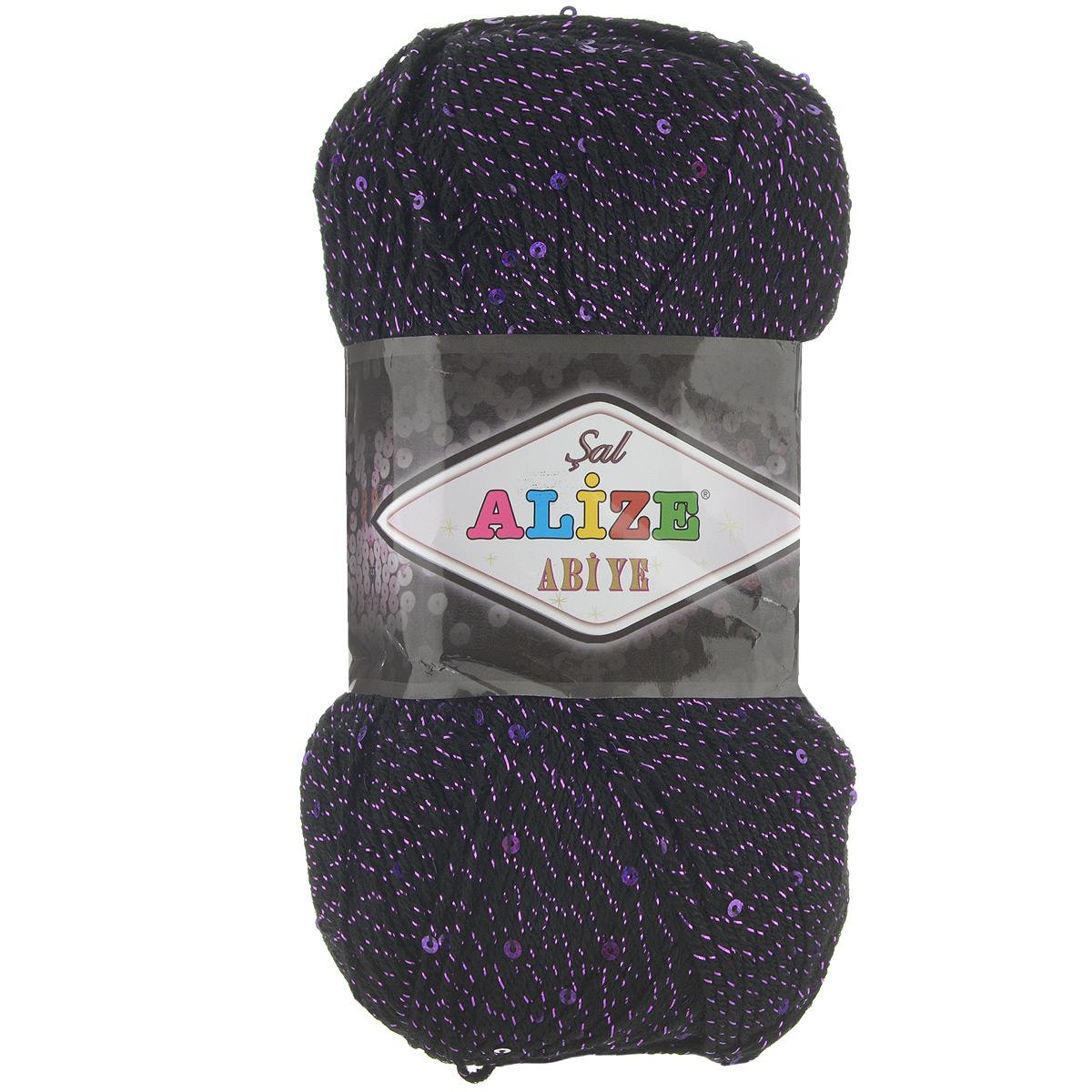 Пряжа для вязания Alize Sal Abiye, цвет: черный, фиолетовый (60-11), 410 м, 100 г, 5 шт372113_60-11Фантазийная акриловая пряжа с добавлением в тон нити пайеток и металлика. Эта нарядная пряжа подходит для вязания элегантных вечерних нарядов, сумочек, кошельков, украшений и пр. Рекомендованные спицы №2-4, крючок №1-4. Комплектация: 5 мотков. Состав: 80% акрил, 10% полиэстер, 5% пайетки, 5% металлик.