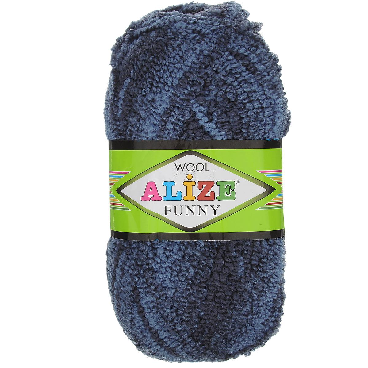Пряжа для вязания Alize Wool Funny, цвет: синий, голубой (1003), 170 м, 100 г, 5 шт364110_1003Пряжа для вязания Alize Wool Funny изготовлена из акрила, шерсти и полиэстера. Шерстяную пряжу лучше использовать для вязания верхней одежды. У нее более толстая и прочная нить. Вещи, связанные из такой пряжи, прекрасно согревают и при правильном уходе долго носятся. В качестве моделей для вязки можно рекомендовать плотные вещи: пальто, осенние длинные кардиганы, пончо, болеро, мужские свитера. Рассчитана на любой уровень мастерства, но особенно понравится начинающим мастерицам - благодаря толстой нити пряжа Alize Wool Funny позволяет быстро связать простую вещь. Структура и состав пряжи максимально комфортны для вязания. Рекомендованные спицы для вязания: № 6-7 мм. Комплектация: 5 мотков. Состав: 73% акрил, 20% шерсть, 7% полиэстер.
