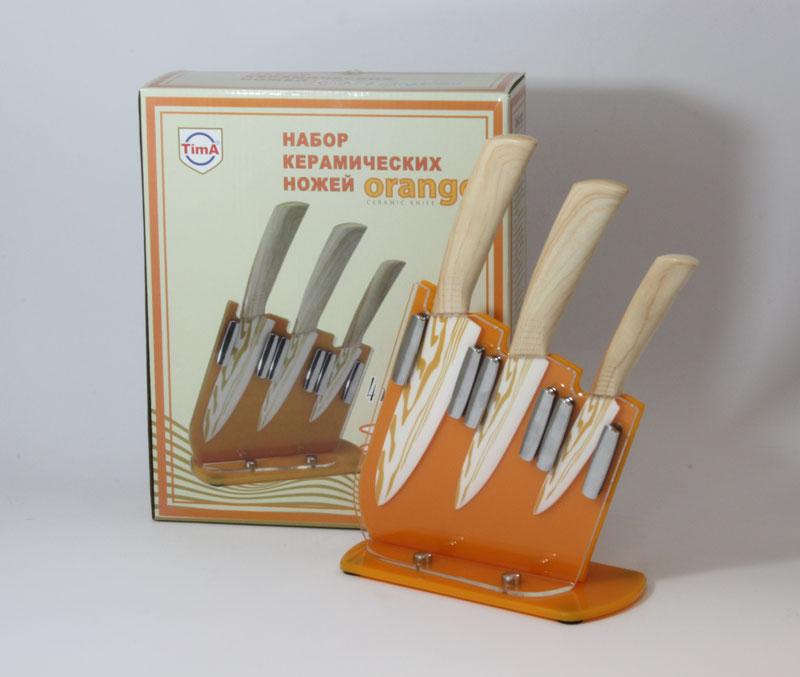 Набор оранжевых ножей TimA. NKT-420NKT-42010, 12 и 15см на подставке