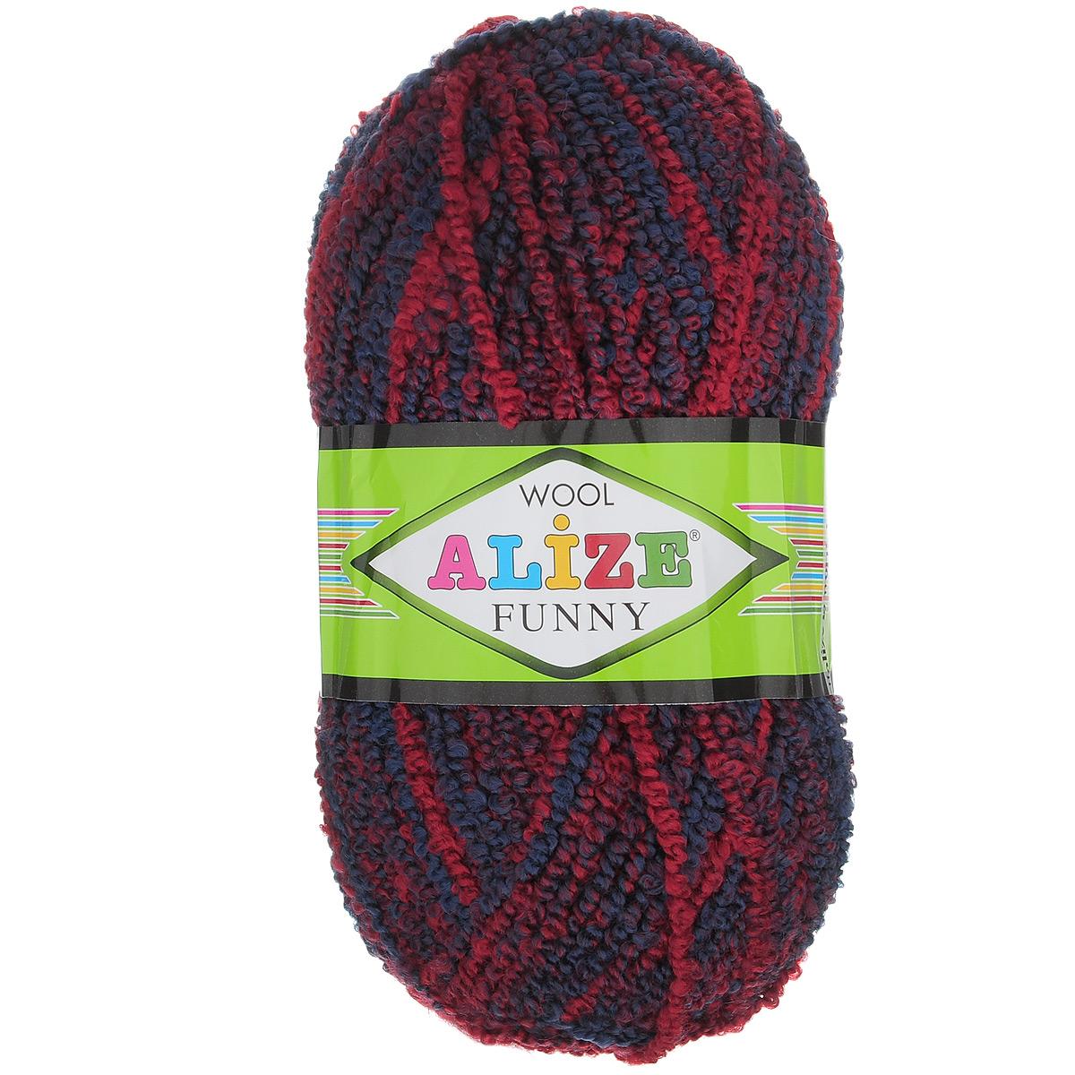 Пряжа для вязания Alize Wool Funny, цвет: синий, бордовый (1259), 170 м, 100 г, 5 шт364110_1259Пряжа для вязания Alize Wool Funny изготовлена из акрила, шерсти и полиэстера. Шерстяную пряжу лучше использовать для вязания верхней одежды. У нее более толстая и прочная нить. Вещи, связанные из такой пряжи, прекрасно согревают и при правильном уходе долго носятся. В качестве моделей для вязки можно рекомендовать плотные вещи: пальто, осенние длинные кардиганы, пончо, болеро, мужские свитера. Рассчитана на любой уровень мастерства, но особенно понравится начинающим мастерицам - благодаря толстой нити пряжа Alize Wool Funny позволяет быстро связать простую вещь. Структура и состав пряжи максимально комфортны для вязания. Рекомендованные спицы для вязания: № 6-7 мм. Комплектация: 5 мотков. Состав: 73% акрил, 20% шерсть, 7% полиэстер.