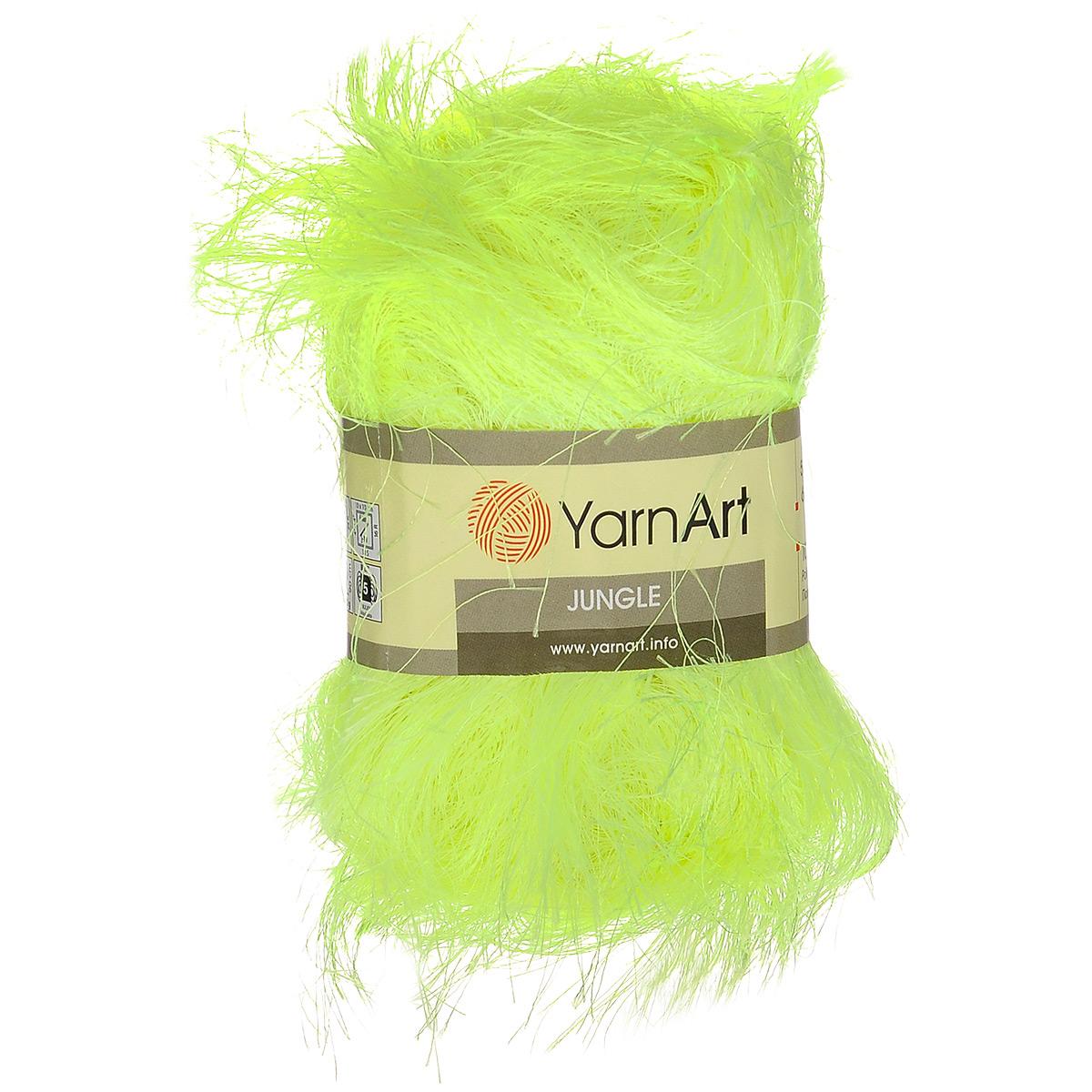 Пряжа для вязания YarnArt Jungle, цвет: салатовый (25), 60 м, 50 г, 10 шт372055_25Пряжа для вязания YarnArt Jungle изготовлена из полиэстера. Пряжа-травка предназначена для ручного вязания и идеально подходит для отделки. Готовый ворс получается равным 4 см. Рекомендованные спицы и крючок для вязания 6 мм. Комплектация: 10 мотков. Состав: 100% полиэстер.