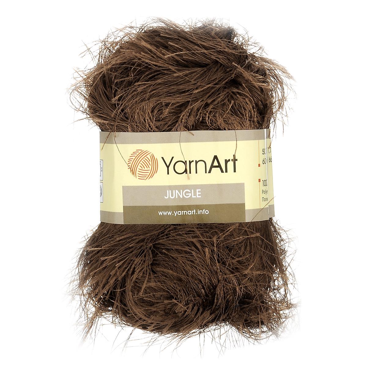 Пряжа для вязания YarnArt Jungle, цвет: коричневый (16), 60 м, 50 г, 10 шт372055_16Пряжа для вязания YarnArt Jungle изготовлена из полиэстера. Пряжа-травка предназначена для ручного вязания и идеально подходит для отделки. Готовый ворс получается равным 4 см. Рекомендованные спицы и крючок для вязания 6 мм. Комплектация: 10 мотков. Состав: 100% полиэстер.