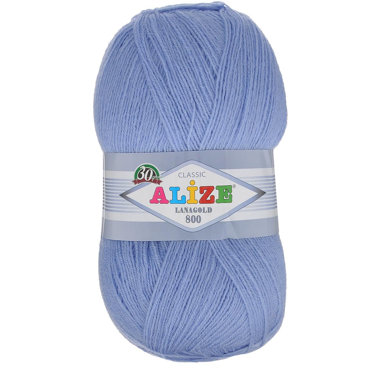 """Пряжа для вязания Alize """"Lanagold 800"""", цвет: голубой (40), 800 м, 100 г, 5 шт"""
