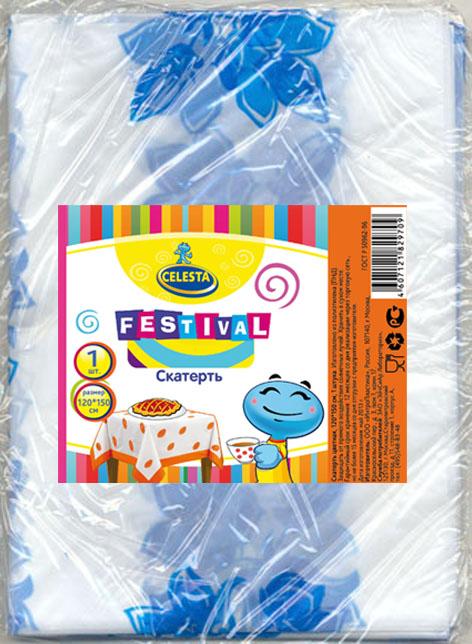 Скатерть одноразовая Celesta Festival, цвет: синий, белый, 120 x 150 см709Скатерть Celesta Festival - идеальный вариант для дома, дачи или отдыха на природе. Прекрасно подойдет для шумной вечеринки, на которой можно запросто испортить скатерть вином, жирной едой и т.д. Скатерть изготовлена из полиэтилена. Скатерть одноразовая и влагостойкая, что очень удобно. Уважаемые клиенты! Товар поставляется в цветовом ассортименте. Отгрузка производится из имеющихся в наличии цветов.
