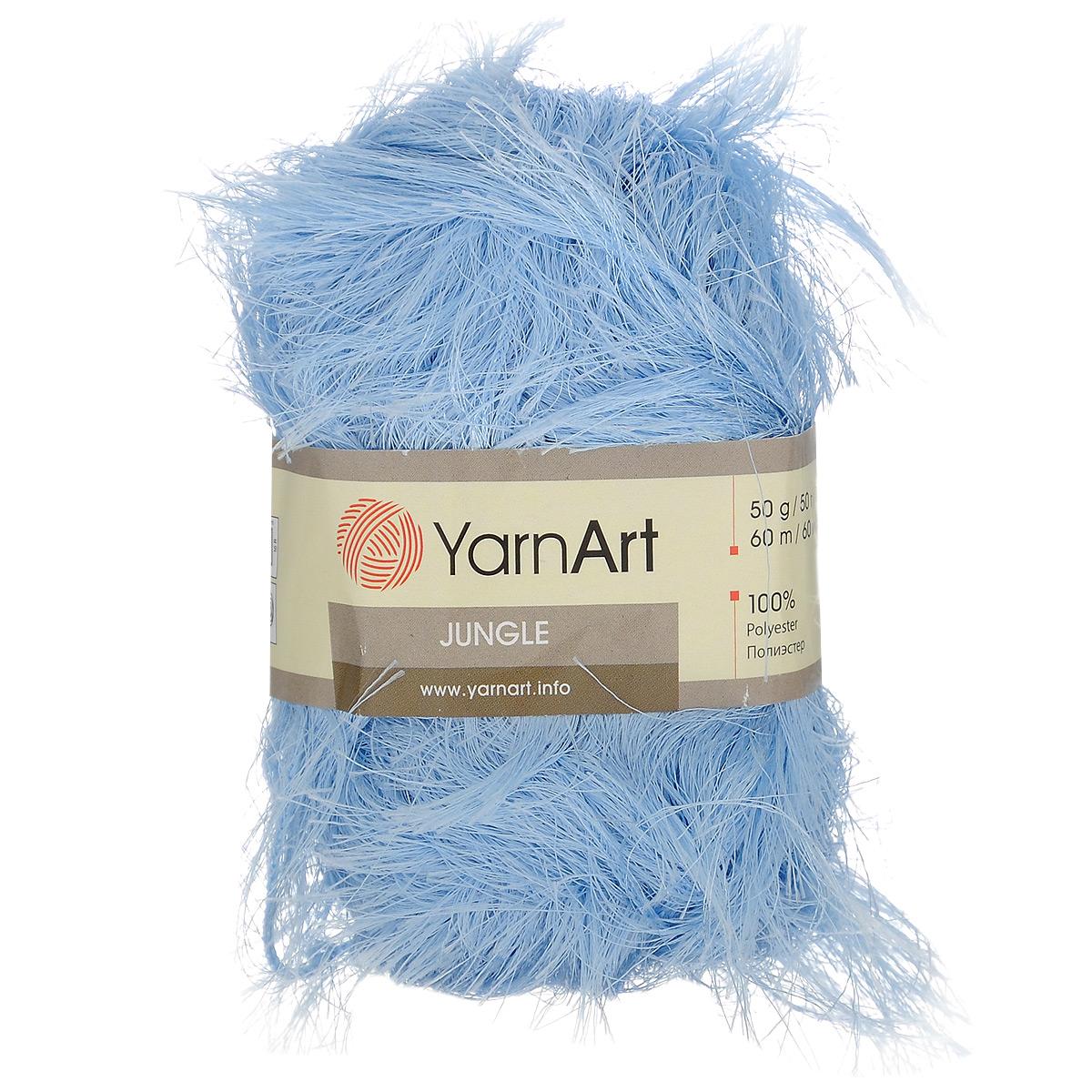 Пряжа для вязания YarnArt Jungle, цвет: голубой (04), 60 м, 50 г, 10 шт372055_04Пряжа для вязания YarnArt Jungle изготовлена из полиэстера. Пряжа-травка предназначена для ручного вязания и идеально подходит для отделки. Готовый ворс получается равным 4 см. Рекомендованные спицы и крючок для вязания 6 мм. Комплектация: 10 мотков. Состав: 100% полиэстер.