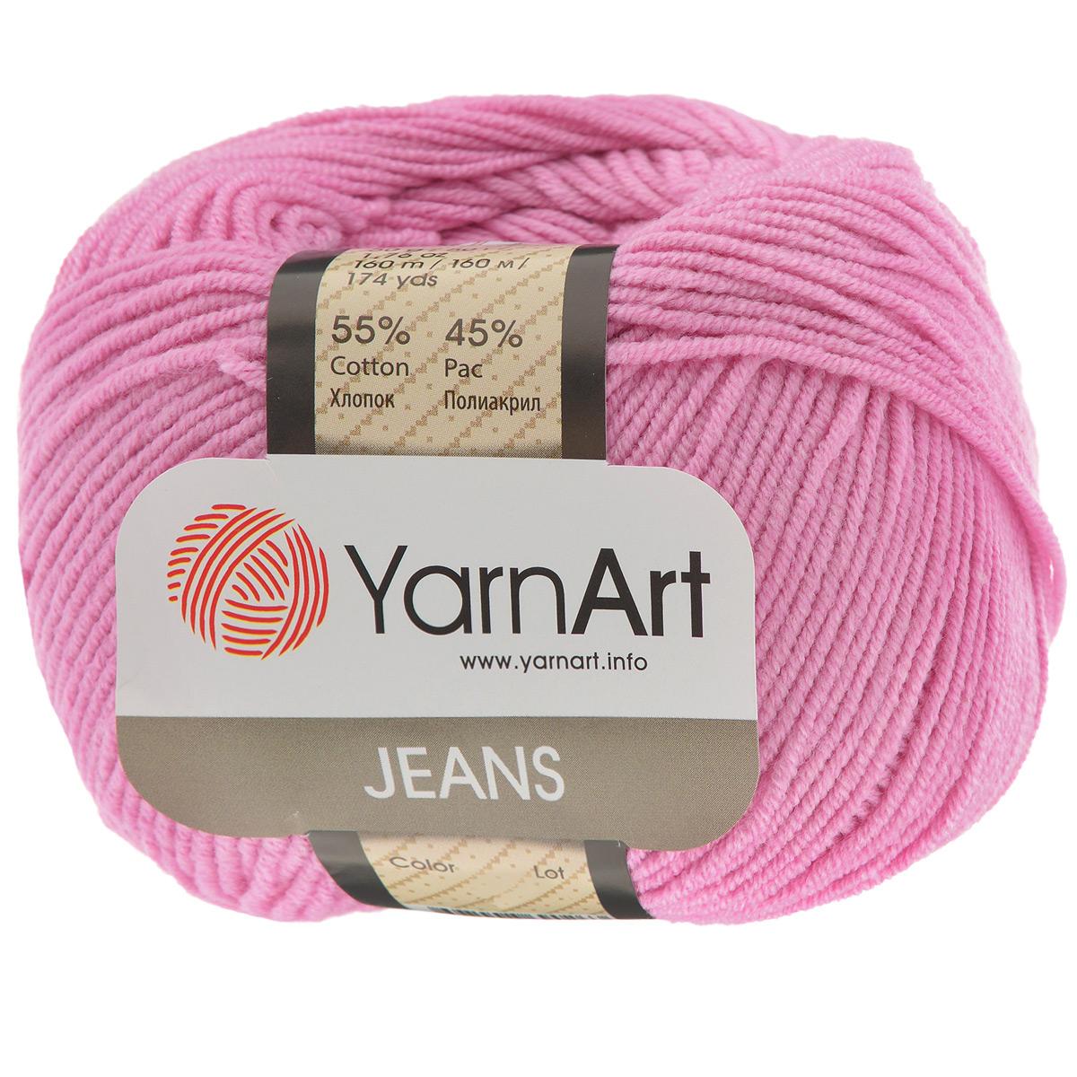Пряжа для вязания YarnArt Jeans, цвет: розовый (42), 160 м, 50 г, 10 шт372001_42Пряжа YarnArt Jeans изготовлена из высококачественного хлопка и полиакрила. Особенность технологии изготовления этой пряжи состоит в нежёстком кручении нити, в результате чего нить становится очень удобной для вязки, поскольку не распадается на отдельные волокна. Высокопрочная и долговечная пряжа мягкая на ощупь, а благодаря содержанию волокон акрила изделия из неё не сминаются. Даже после многократных стирок изделия отлично сохраняют внешний вид, что очень важно для вязаных изделий детского ассортимента. Цветовая гамма пряжи YarnArt Jeans очень богатая, вы можете пополнить свой гардероб изделиями из неё на любой сезон: джемпером, жакетом, свитером и другими полезными и оригинальными вещами, которые прослужат вам и вашим близким очень долго и не создадут трудностей в уходе за ними. Рекомендуется для вязания на крючках и спицах 3,5 мм. Состав: 55% хлопок, 45% полиакрил.