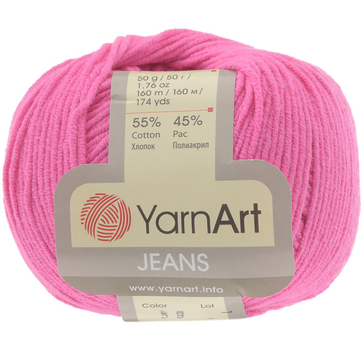Пряжа для вязания YarnArt Jeans, цвет: темно-розовый (59), 160 м, 50 г, 10 шт372001_59Тем, кто ценит в вязаных изделиях в первую очередь прочность и долговечность в носке, рекомендуем турецкую пряжу YarnArt JEANS. Особенность технологии изготовления этой пряжи, в составе которой хлопок с акрилом в соотношении 55 на 45%, состоит в нежёстком кручении нити, в результате чего нить становится очень удобной для вязки, поскольку не распадается на отдельные волокна. Пряжа мягкая на ощупь, а благодаря содержанию волокон акрила изделия из неё не сминаются. И после многократных стирок изделия из YarnArt JEANS отлично сохраняют внешний вид, что очень важно для вязаных изделий детского ассортимента. Цветовая гамма пряжи YarnArt JEANS очень богатая, вы можете пополнить свой гардероб изделиями из неё на любой сезон: джемпером, жакетом, свитером и другими полезными и оригинальными вещами, которые прослужат вам и вашим близким очень долго и не создадут трудностей в уходе за ними. Рекомендуется для вязания на крючках и спицах 3,5 мм. Состав: 55% хлопок, 45%...