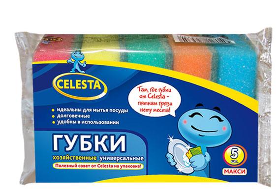 Губки хозяйственные Celesta Макси, универсальные, 5 шт3123Губки хозяйственные Celesta Макси имеют 2 слоя: поролон и абразивный слой. Мягкий слой предназначен для деликатного мытья, жесткий слой - для очистки сильных загрязнений. Губки предназначены для мытья посуды, раковин, плит. Размер губки: 9 см х 9,5 см х 3 см. Комплектация: 5 шт.