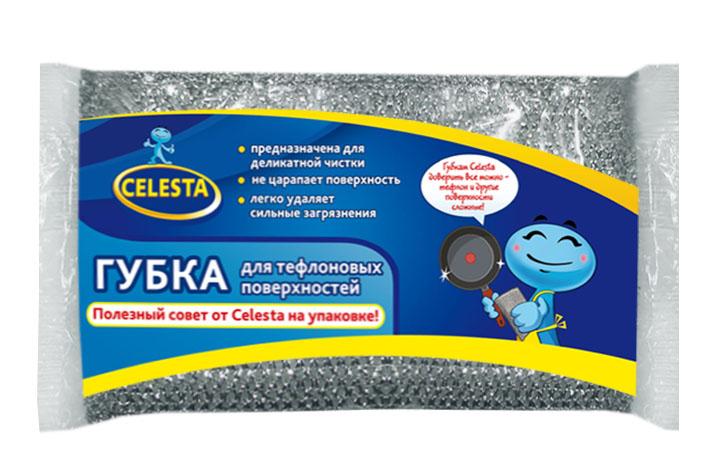 Губка для тефлоновых поверхностей Celesta, цвет: серебристый2102Губка Celesta идеально подходит для мытья посуды с тефлоновым покрытием и других деликатных поверхностей. Отмывает посуду от сильных загрязнений. Может использоваться для чистки сантехники, кафеля, керамики, стекла и посуды из нержавеющей стали. Размер губки: 13 см х 9 см х 2 см.