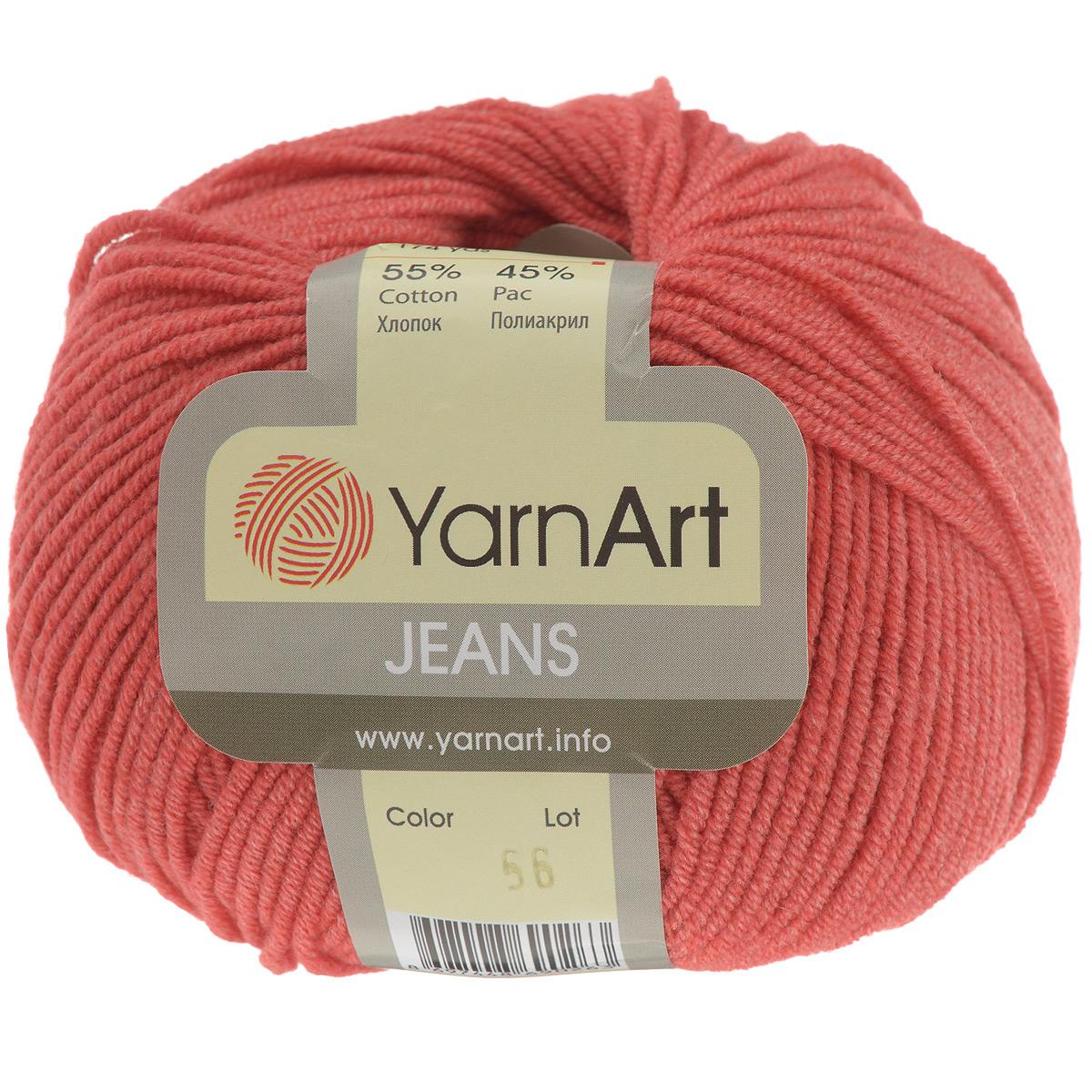 Пряжа для вязания YarnArt Jeans, цвет: красный (56), 160 м, 50 г, 10 шт372001_56Пряжа YarnArt Jeans изготовлена из высококачественного хлопка и полиакрила. Особенность технологии изготовления этой пряжи состоит в нежёстком кручении нити, в результате чего нить становится очень удобной для вязки, поскольку не распадается на отдельные волокна. Высокопрочная и долговечная пряжа мягкая на ощупь, а благодаря содержанию волокон акрила изделия из неё не сминаются. Даже после многократных стирок изделия отлично сохраняют внешний вид, что очень важно для вязаных изделий детского ассортимента. Цветовая гамма пряжи YarnArt Jeans очень богатая, вы можете пополнить свой гардероб изделиями из неё на любой сезон: джемпером, жакетом, свитером и другими полезными и оригинальными вещами, которые прослужат вам и вашим близким очень долго и не создадут трудностей в уходе за ними. Рекомендуется для вязания на крючках и спицах 3,5 мм. Состав: 55% хлопок, 45% полиакрил.