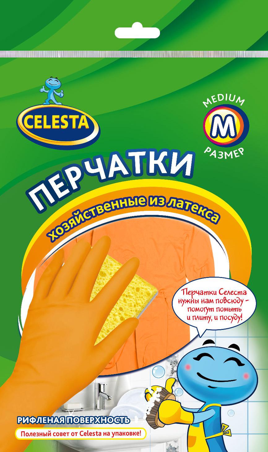 Перчатки хозяйственные Celesta, цвет: оранжевый. Размер М4192Универсальные перчатки Celesta, произведены из высококачественного латекса, рифленая поверхность позволяет удерживать мокрые предметы. Перчатки подходят для различных видов домашних работ. Перчатки эластичны, хорошо облегают руку.