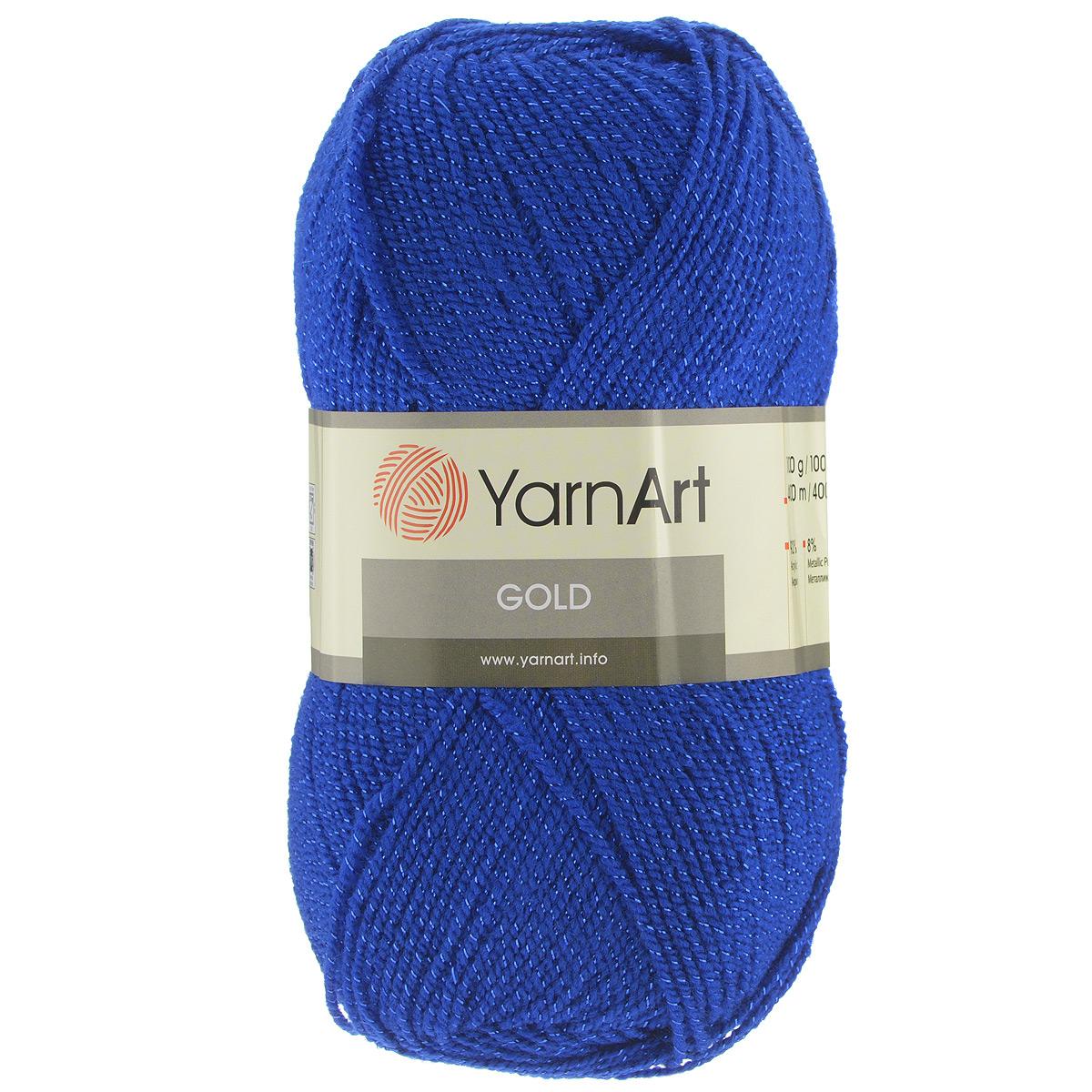 Пряжа для вязания YarnArt Gold, цвет: синий (9045), 400 м, 100 г, 5 шт372007_9045Мерцающая нитка с люрексом для вязания YarnArt Gold равномерно окрашена с помощью стойких высококачественных красителей, нить плотно скручена, люрекс не выбивается в процессе вязания, петли ложатся равномерно. YarnArt Gold - декоративная пряжа с широкой цветовой палитрой, предназначенная для демисезонной одежды. Акрил защищает готовое изделие от деформации после стирки и сушки. Нить гибкая и эластичная, хорошо тянется, превосходно сохраняет форму после носки. Изысканная пряжа для создания вечерних нарядов выглядит дорого и стильно. Рекомендуется для вязания на спицах 2,75 мм и крючках 3,25 мм. Состав: 92% акрил, 8% метанит.