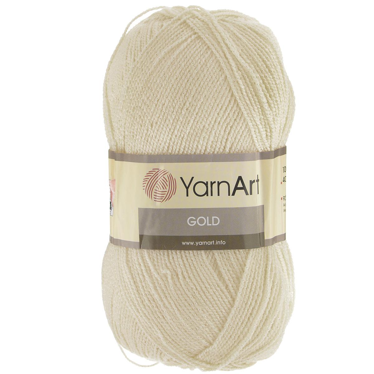 Пряжа для вязания YarnArt Gold, цвет: шампань (9383), 400 м, 100 г, 5 шт372007_9383Мерцающая нитка с люрексом для вязания эффектных вещей, тонкая, мягкая, нежная, приятная на ощупь. Пряжа окрашена равномерно с помощью стойких высококачественных красителей, нить плотно скручена, люрекс не выбивается в процессе вязания, петли ложатся равномерно. YarnArt Gold - декоративная пряжа с широкой цветовой палитрой, предназначенная для демисезонной одежды. Акрил защищает готовое изделие от закошлачивания, деформации после стирки и сушки. Нить гибкая и эластичная, хорошо тянется, превосходно сохраняет форму после носки. Изысканная пряжа для создания вечерних нарядов выглядит дорого и стильно. Кроме традиционного золотистого и серебристого, люрекс предлагается в тон нити - синий, зеленый, бежевый и т.д. Таким образом, блеск получается ненавязчивым, гармоничным, приятным глазу. YarnArt Gold выглядит красиво в болеро, свитерах, палантинах, шалях, шапках, шарфах, перчатках, гетрах, а также нарядных детских платьях, кофтах. Рекомендуется для вязания на спицах 2,75...