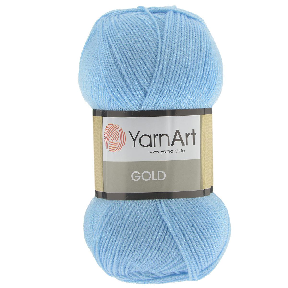 Пряжа для вязания YarnArt Gold, цвет: голубое небо (9355), 400 м, 100 г, 5 шт372007_9355Мерцающая нитка с люрексом для вязания YarnArt Gold равномерно окрашена с помощью стойких высококачественных красителей, нить плотно скручена, люрекс не выбивается в процессе вязания, петли ложатся равномерно. YarnArt Gold - декоративная пряжа с широкой цветовой палитрой, предназначенная для демисезонной одежды. Акрил защищает готовое изделие от деформации после стирки и сушки. Нить гибкая и эластичная, хорошо тянется, превосходно сохраняет форму после носки. Изысканная пряжа для создания вечерних нарядов выглядит дорого и стильно. Рекомендуется для вязания на спицах 2,75 мм и крючках 3,25 мм. Состав: 92% акрил, 8% метанит.