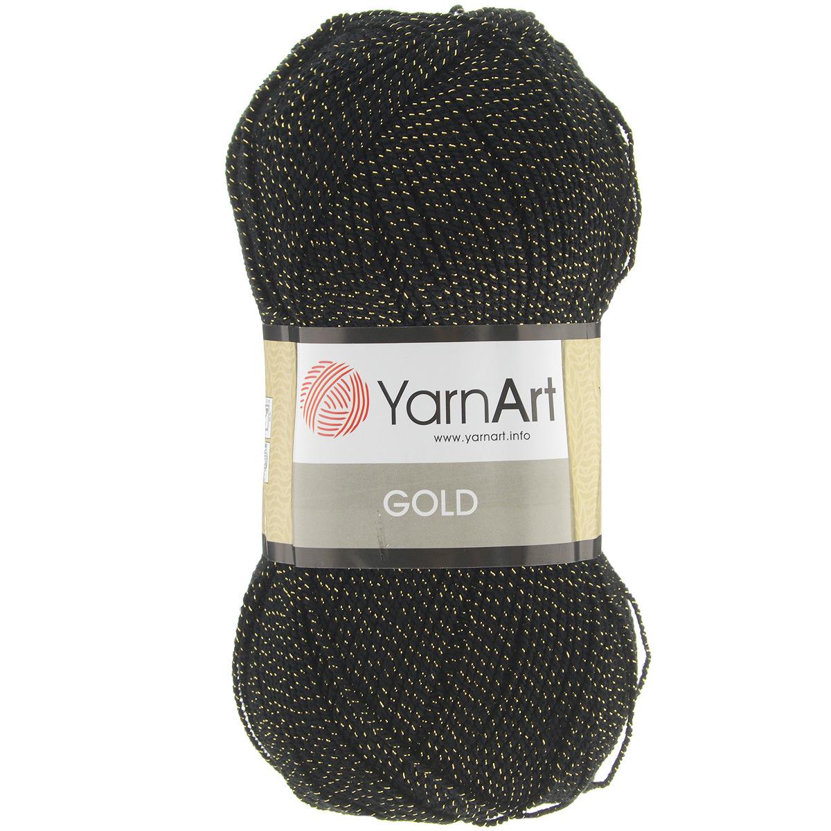 Пряжа для вязания YarnArt Gold, цвет: черный, золотистый (9004), 400 м, 100 г, 5 шт372007_9004Мерцающая нитка с люрексом для вязания эффектных вещей, тонкая, мягкая, нежная, приятная на ощупь. Пряжа окрашена равномерно с помощью стойких высококачественных красителей, нить плотно скручена, люрекс не выбивается в процессе вязания, петли ложатся равномерно. YarnArt Gold - декоративная пряжа с широкой цветовой палитрой, предназначенная для демисезонной одежды. Акрил защищает готовое изделие от закошлачивания, деформации после стирки и сушки. Нить гибкая и эластичная, хорошо тянется, превосходно сохраняет форму после носки. Изысканная пряжа для создания вечерних нарядов выглядит дорого и стильно. Кроме традиционного золотистого и серебристого, люрекс предлагается в тон нити - синий, зеленый, бежевый и т.д. Таким образом, блеск получается ненавязчивым, гармоничным, приятным глазу. YarnArt Gold выглядит красиво в болеро, свитерах, палантинах, шалях, шапках, шарфах, перчатках, гетрах, а также нарядных детских платьях, кофтах. Рекомендуется для вязания на спицах 2,75...