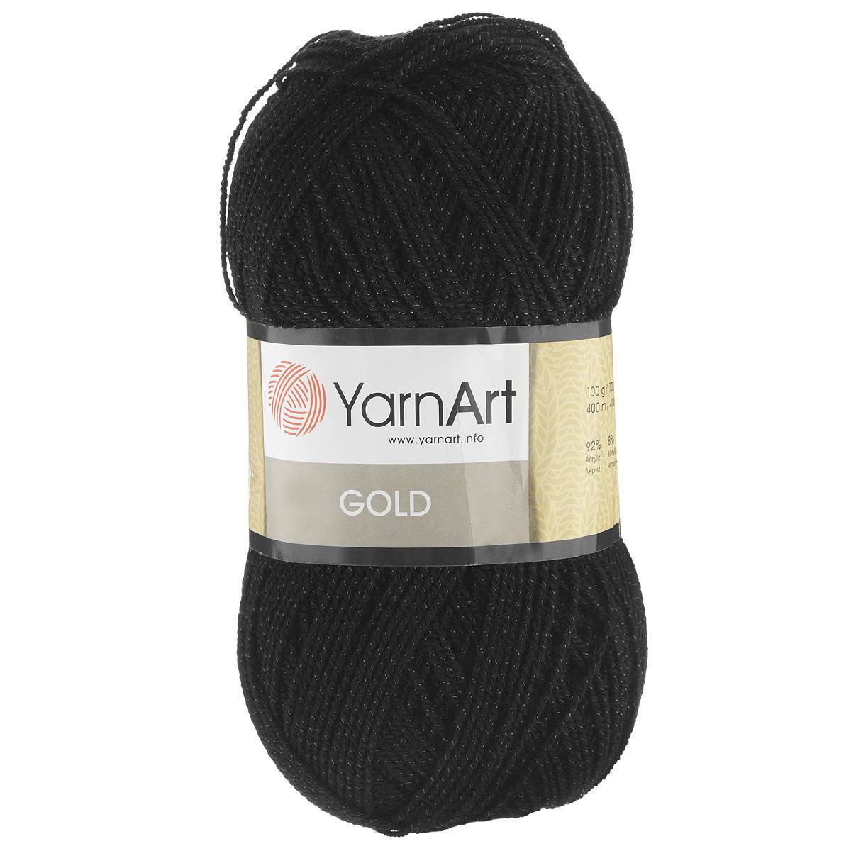 Пряжа для вязания YarnArt Gold, цвет: угольный (9038), 400 м, 100 г, 5 шт372007_9038Мерцающая нитка с люрексом для вязания эффектных вещей, тонкая, мягкая, нежная, приятная на ощупь. Пряжа окрашена равномерно с помощью стойких высококачественных красителей, нить плотно скручена, люрекс не выбивается в процессе вязания, петли ложатся равномерно. YarnArt Gold - декоративная пряжа с широкой цветовой палитрой, предназначенная для демисезонной одежды. Акрил защищает готовое изделие от закошлачивания, деформации после стирки и сушки. Нить гибкая и эластичная, хорошо тянется, превосходно сохраняет форму после носки. Изысканная пряжа для создания вечерних нарядов выглядит дорого и стильно. Кроме традиционного золотистого и серебристого, люрекс предлагается в тон нити - синий, зеленый, бежевый и т.д. Таким образом, блеск получается ненавязчивым, гармоничным, приятным глазу. YarnArt Gold выглядит красиво в болеро, свитерах, палантинах, шалях, шапках, шарфах, перчатках, гетрах, а также нарядных детских платьях, кофтах. Рекомендуется для вязания на спицах 2,75...