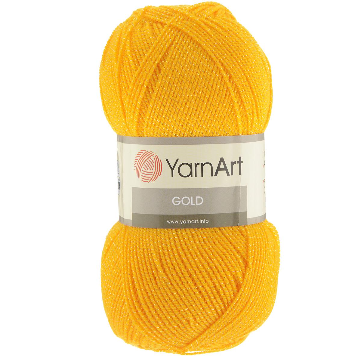 Пряжа для вязания YarnArt Gold, цвет: желтый (9047), 400 м, 100 г, 5 шт372007_9047Мерцающая нитка с люрексом для вязания YarnArt Gold равномерно окрашена с помощью стойких высококачественных красителей, нить плотно скручена, люрекс не выбивается в процессе вязания, петли ложатся равномерно. YarnArt Gold - декоративная пряжа с широкой цветовой палитрой, предназначенная для демисезонной одежды. Акрил защищает готовое изделие от деформации после стирки и сушки. Нить гибкая и эластичная, хорошо тянется, превосходно сохраняет форму после носки. Изысканная пряжа для создания вечерних нарядов выглядит дорого и стильно. Рекомендуется для вязания на спицах 2,75 мм и крючках 3,25 мм. Состав: 92% акрил, 8% метанит.