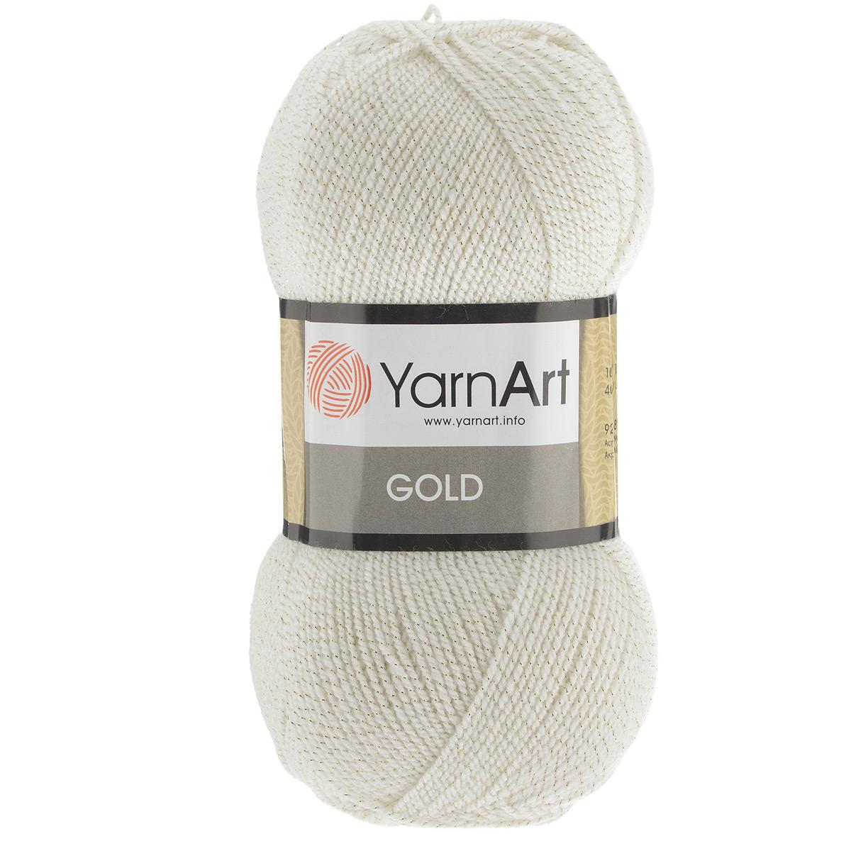 Пряжа для вязания YarnArt Gold, цвет: суровый (9000), 400 м, 100 г, 5 шт372007_9000Мерцающая нитка с люрексом для вязания эффектных вещей, тонкая, мягкая, нежная, приятная на ощупь. Пряжа окрашена равномерно с помощью стойких высококачественных красителей, нить плотно скручена, люрекс не выбивается в процессе вязания, петли ложатся равномерно. YarnArt Gold - декоративная пряжа с широкой цветовой палитрой, предназначенная для демисезонной одежды. Акрил защищает готовое изделие от закошлачивания, деформации после стирки и сушки. Нить гибкая и эластичная, хорошо тянется, превосходно сохраняет форму после носки. Изысканная пряжа для создания вечерних нарядов выглядит дорого и стильно. Кроме традиционного золотистого и серебристого, люрекс предлагается в тон нити - синий, зеленый, бежевый и т.д. Таким образом, блеск получается ненавязчивым, гармоничным, приятным глазу. YarnArt Gold выглядит красиво в болеро, свитерах, палантинах, шалях, шапках, шарфах, перчатках, гетрах, а также нарядных детских платьях, кофтах. Рекомендуется для вязания на спицах 2,75...