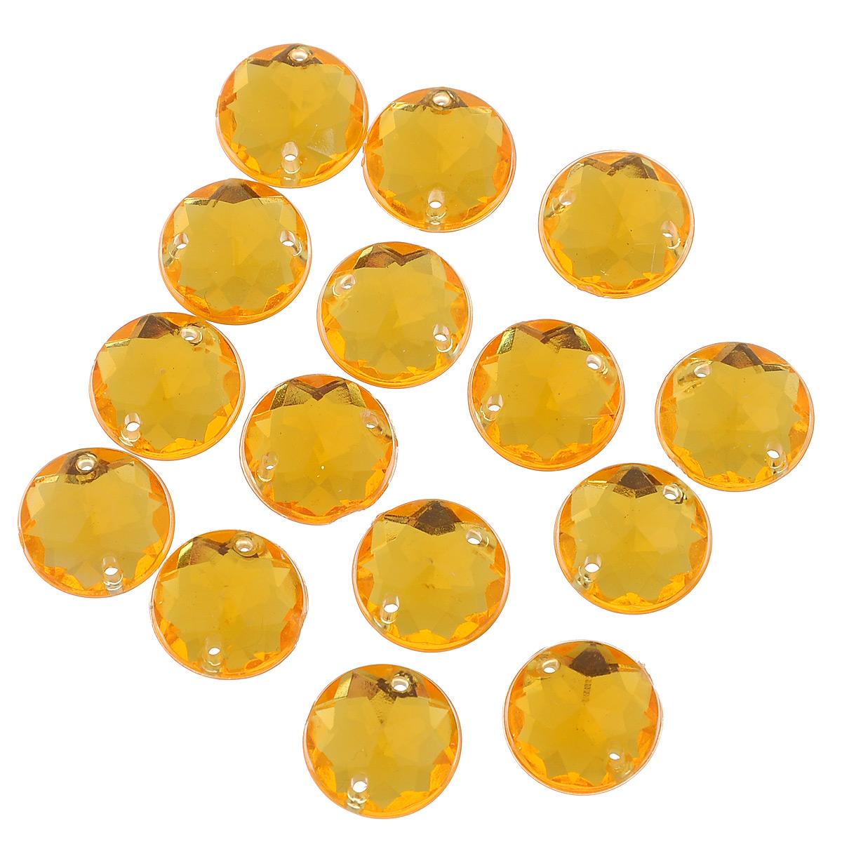 Стразы пришивные Астра, цвет: оранжевый (11), диаметр 11 мм, 15 шт. 7701645_117701645_11Набор страз Астра, изготовленный из акрила, позволит вам украсить одежду и аксессуары. Стразы оригинального и яркого дизайна круглой формы оснащены отверстиями для пришивания. Украшение стразами поможет сделать любую вещь оригинальной и неповторимой. Диаметр: 11 мм.