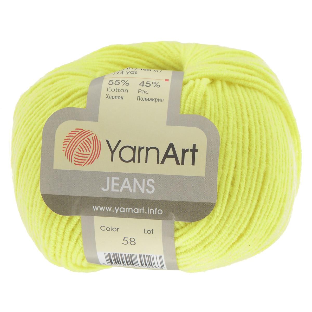 Пряжа для вязания YarnArt Jeans, цвет: лимонный (58), 160 м, 50 г, 10 шт372001_58Пряжа YarnArt Jeans изготовлена из высококачественного хлопка и полиакрила. Особенность технологии изготовления этой пряжи состоит в нежёстком кручении нити, в результате чего нить становится очень удобной для вязки, поскольку не распадается на отдельные волокна. Высокопрочная и долговечная пряжа мягкая на ощупь, а благодаря содержанию волокон акрила изделия из неё не сминаются. Даже после многократных стирок изделия отлично сохраняют внешний вид, что очень важно для вязаных изделий детского ассортимента. Цветовая гамма пряжи YarnArt Jeans очень богатая, вы можете пополнить свой гардероб изделиями из неё на любой сезон: джемпером, жакетом, свитером и другими полезными и оригинальными вещами, которые прослужат вам и вашим близким очень долго и не создадут трудностей в уходе за ними. Рекомендуется для вязания на крючках и спицах 3,5 мм. Состав: 55% хлопок, 45% полиакрил.