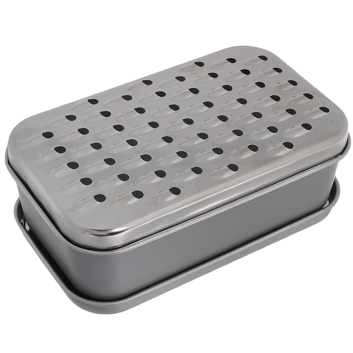 Терка Fackelmann с контейнером, цвет: серый. 4535745357Терка Fackelmann выполнена из пластика и оснащена двумя сменными насадками из нержавеющей стали. Насадки крепятся на пластиковый контейнер, измельченные продукты попадают сразу в контейнер, что предотвращает рассыпание. Кроме того, в комплекте имеется крышка, поэтому в контейнере можно еще и хранить продукты. Терка имеет 2 варианта насадок: крупная и мелкая. Это дает возможность варьировать степень измельчения продукта. Каждая хозяйка оценит все преимущества этой терки. Практичный, современный и простой в эксплуатации прибор поможет вам легко натереть овощи или фрукты. Размер насадки: 10 см х 18 см. Размер контейнера (ДхШхВ): 17,5 см х 10 см х 7 см.