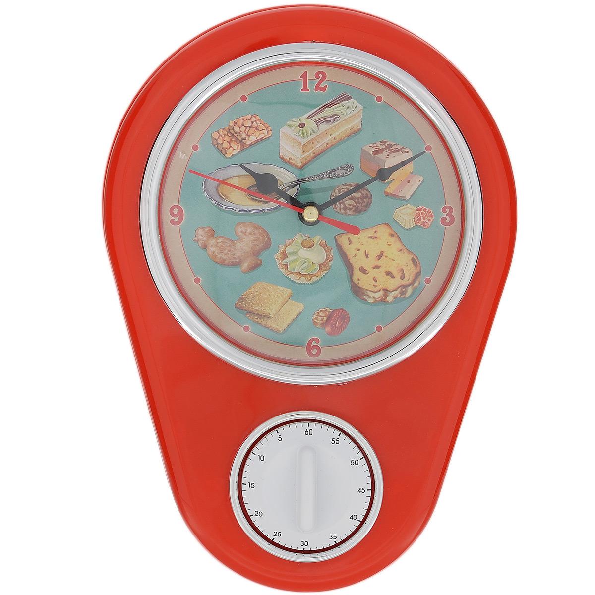 Часы кухонные Ретро-вкусности с таймером, настенные, цвет: красный37381Кухонные настенные часы Ретро-вкусности в ретро стиле прекрасно дополнят интерьер кухни. Корпус выполнен из высококачественного пластика. Все механизмы скрыты в корпусе. Циферблат круглой формы, оформленный крупными арабскими цифрами и изображением сладостей, защищен стеклом. Имеется встроенный таймер на 60 минут, его удобно использовать во время приготовления блюд. Часы подвешиваются на стену. Часы работают от одной пальчиковой батарейки тип АА (не входит в комплект). Диаметр циферблата: 11,3 см. Размер часов: 16 см х 5 см х 22,5 см.