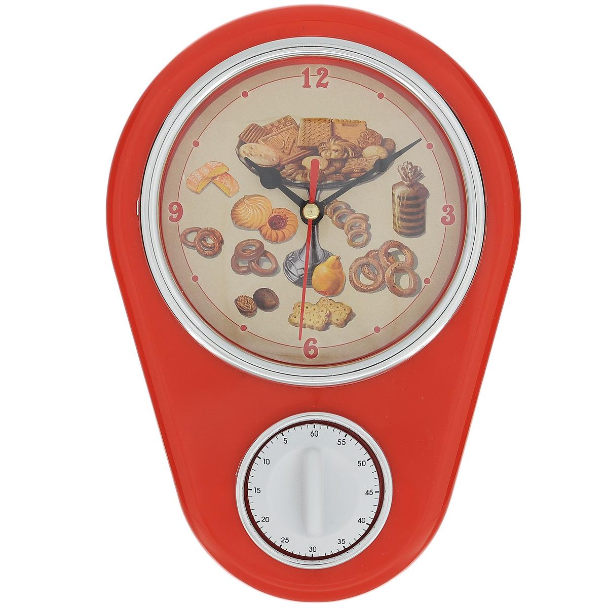 Часы кухонные Печенье с таймером, настенные, цвет: красный37385Кухонные настенные часы Печенье в ретро стиле прекрасно дополнят интерьер кухни. Корпус выполнен из высококачественного пластика. Все механизмы скрыты в корпусе. Циферблат круглой формы, оформленный крупными арабскими цифрами и изображением печенья, защищен стеклом. Имеется встроенный таймер на 60 минут, его удобно использовать во время приготовления блюд. Часы подвешиваются на стену. Часы работают от одной пальчиковой батарейки тип АА (не входит в комплект). Диаметр циферблата: 11,3 см. Размер часов: 16 см х 5 см х 22,5 см.