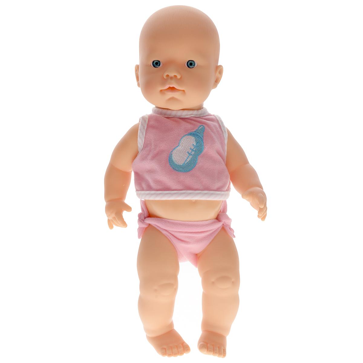 Кукла-пупс Falca Mon Bebe, с аксессуарами, цвет: розовый, 40 см40513Кукла-пупс Falca Mon Bebe порадует вашу малышку и доставит ей много удовольствия от часов, посвященных игре с ней. Кукла выглядит как настоящий малыш. Она одета в розовые футболку и трусики. В набор также входят бутылочка для кормления, стаканчик под бутылочку, чашечка с крышечкой, игрушка, поильник, тарелочка с отделениями для разной еды, ложка и вилка. Кукла не только пьёт водичку, но и писает на горшок, чем еще более похожа на настоящего ребёнка. После кормления и туалета пупса можно искупать, переодеть и дать игрушку. Игра с куклой разовьет в вашей малышке чувство ответственности и заботы. Порадуйте свою принцессу таким великолепным подарком!