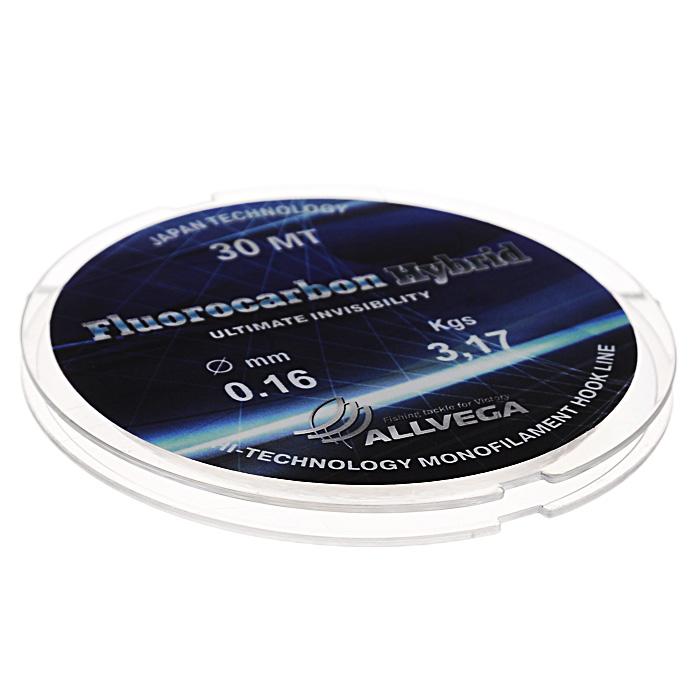 Леска Allvega Fluorocarbon Hybrid, цвет: прозрачный, 30 м, 0,16 мм, 3,17 кг36175Прозрачная леска Allvega Fluorocarbon Hybrid, состоящая из 65 % флюрокарбона. Флюрокарбоновое покрытие позволяет максимально повысить характеристики, при этом цена лески остается относительно низкой.