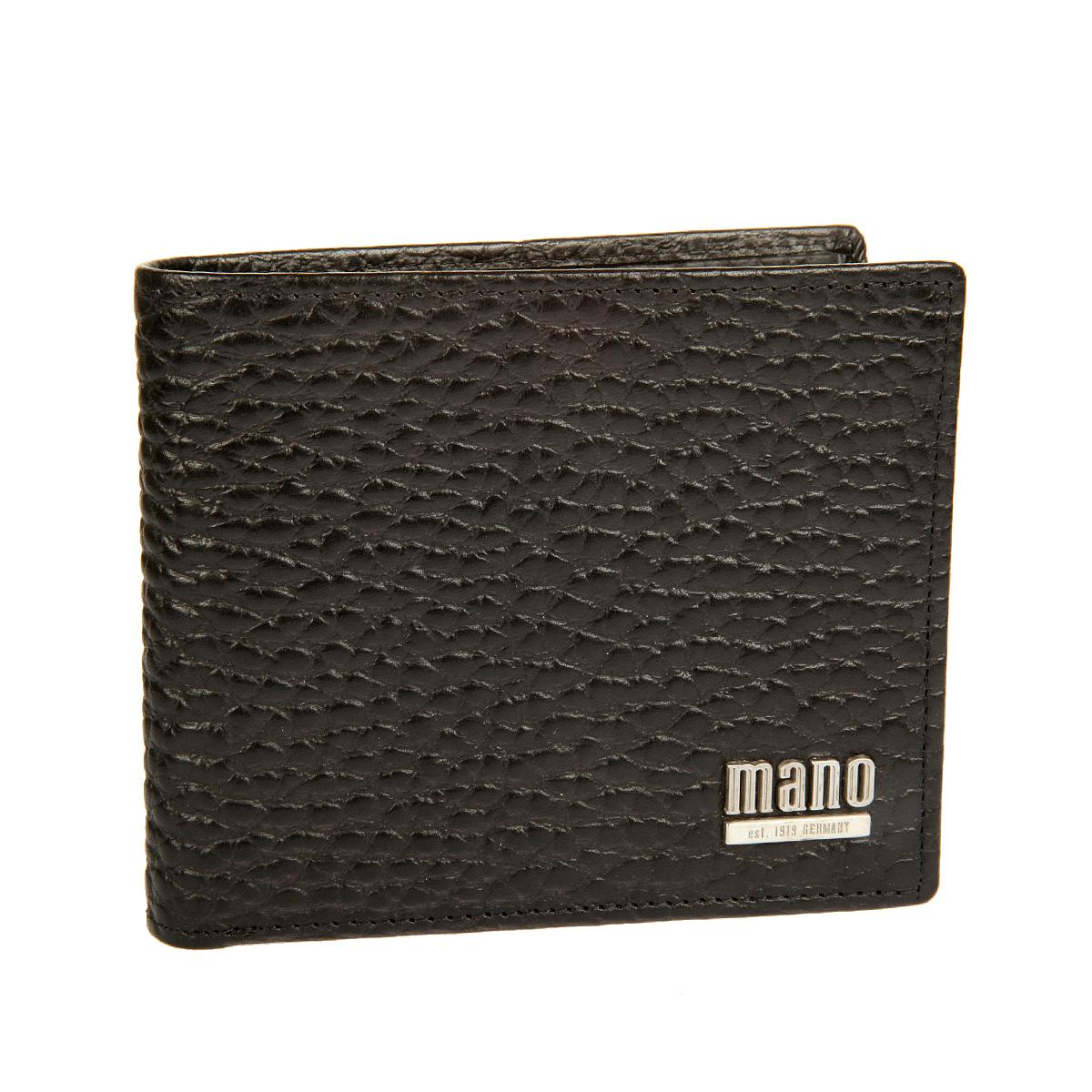 Портмоне мужское Mano, цвет: черный. 1953619536 blackСтильное мужское портмоне Mano выполнено из натуральной кожи с тиснением под рептилию, оформлено металлической эмблемой в виде логотипа бренда. Внутри - два отделения для купюр, отдел для монет с клапаном на кнопке, один потайной кармашек, двенадцать отделений для пластиковых карт и один карман с сетчатой вставкой. Портмоне упаковано в фирменную картонную коробку.