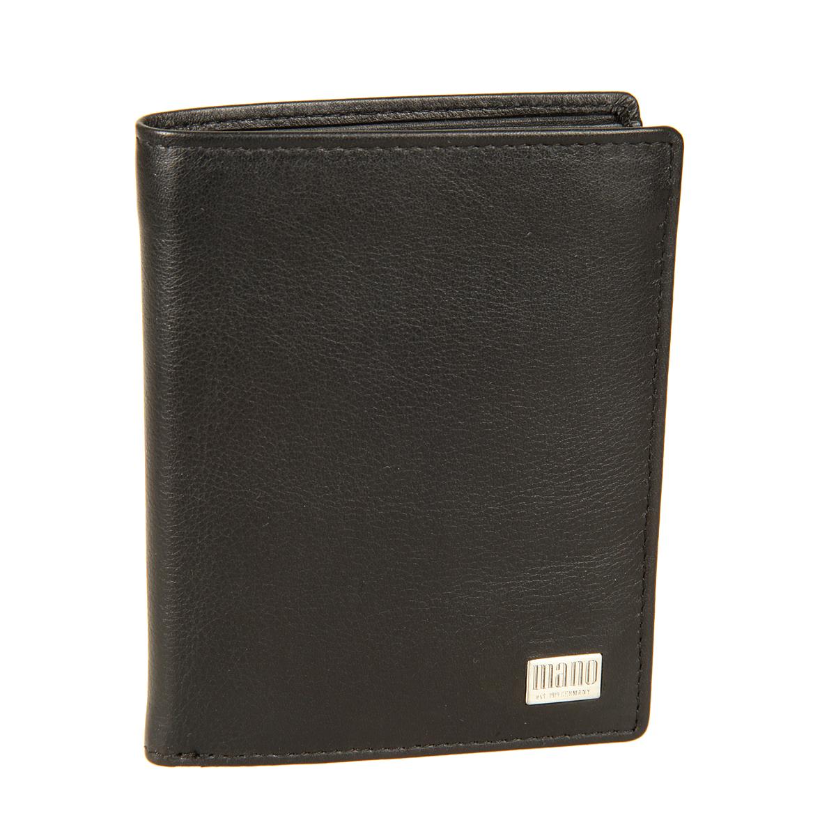 Портмоне мужское Mano, цвет: черный. 1580215802 linea blackСтильное мужское портмоне Mano выполнено из натуральной кожи и оформлена металлической пластинкой с логотипом бренда. Внутри два отделения для купюр, карман для мелочи с клапаном на кнопке, два плоских кармана для мелких бумаг, шесть кармашков для пластиковых и визитных карточек и один карман с сетчатой вставкой. Портмоне упакована в фирменную картонную коробку.