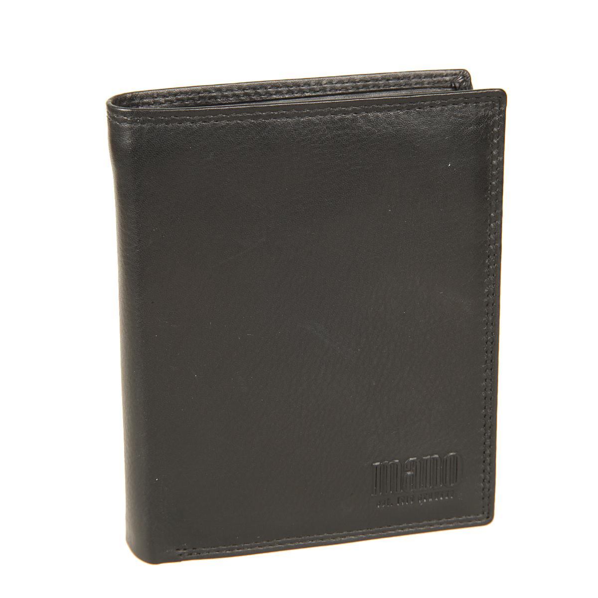 Портмоне мужское Mano, цвет: черный. 1902019020 sutura blackСтильное мужское портмоне Mano выполнено из натуральной кожи, оформлено объемной надписью в виде логотипа бренда. Внутри - два отделения для купюр, карман на застежке-молнии, карман для мелочи с клапаном на кнопке, четыре потайных кармашка, один кармашек с сетчатой вставкой и восемь отделений для визитных и кредитных карточек. Портмоне упаковано в фирменную картонную коробку.